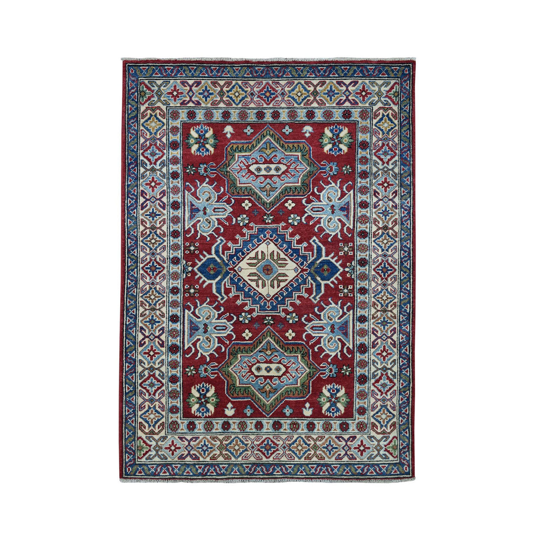 4'X6' Red Geometric Design Kazak Pure Wool Hand-Knotted Oriental Rug moae0700