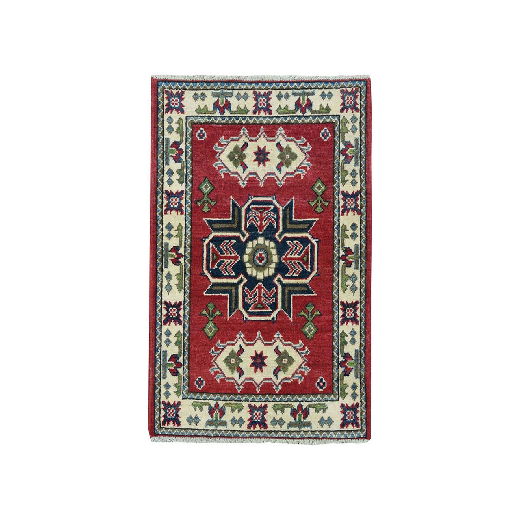 """2'1""""X3' Red Geometric Design Kazak Pure Wool Hand-Knotted Oriental Rug moae070a"""