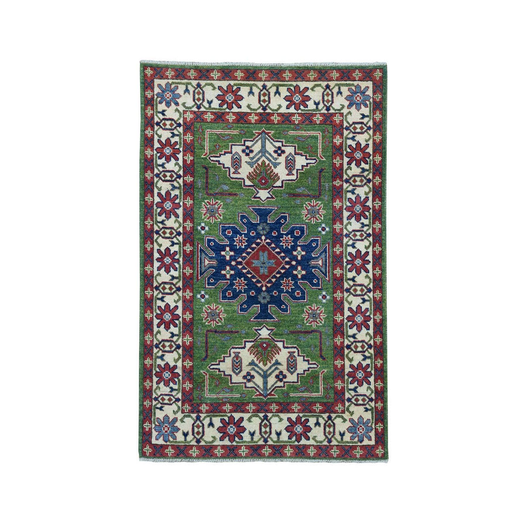 "3'3""X4'8"" Green Geometric Design Kazak Pure Wool Hand-Knotted Oriental Rug moae070d"