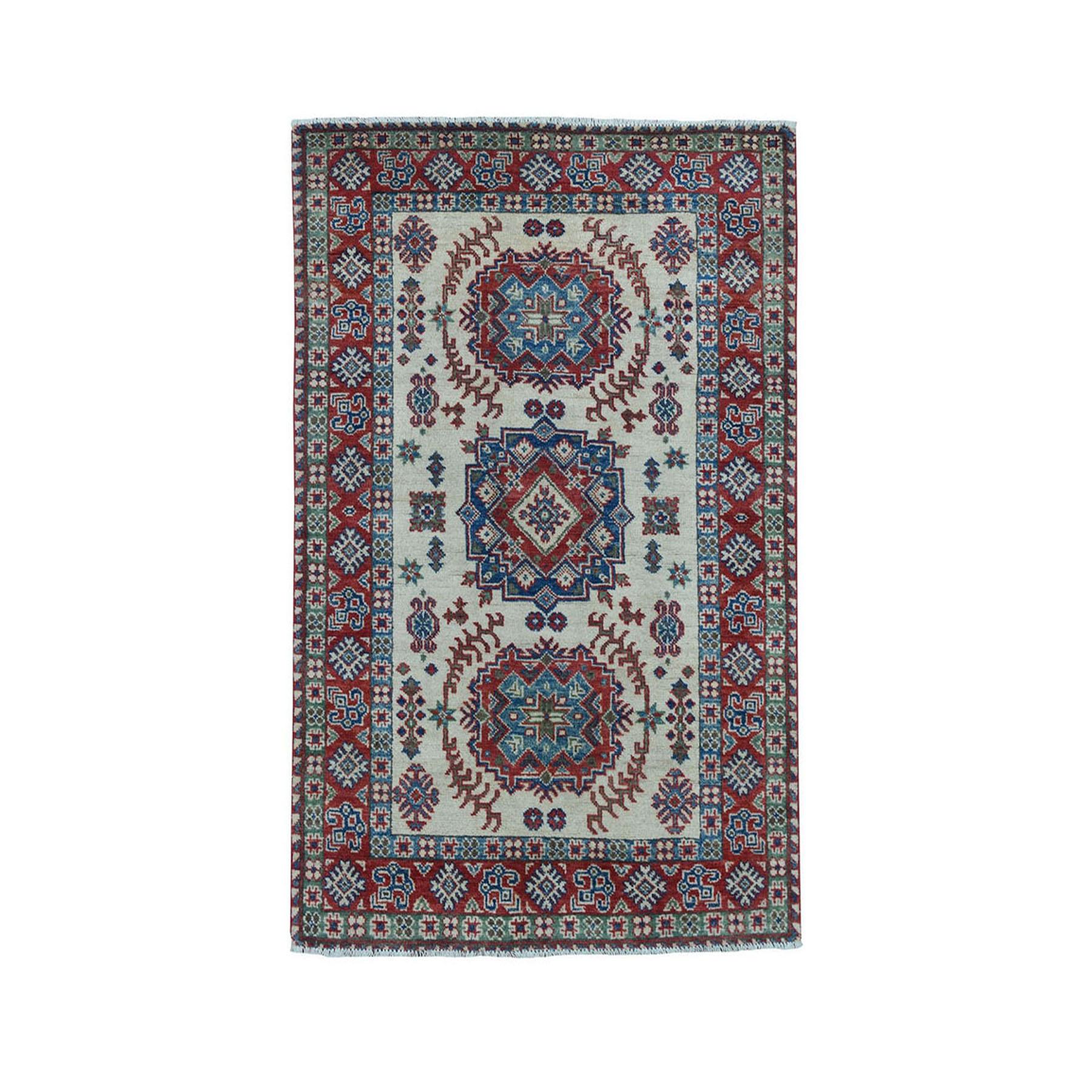 "3'4""X5'6"" Ivory Geometric Design Kazak Pure Wool Hand-Knotted Oriental Rug moae070e"