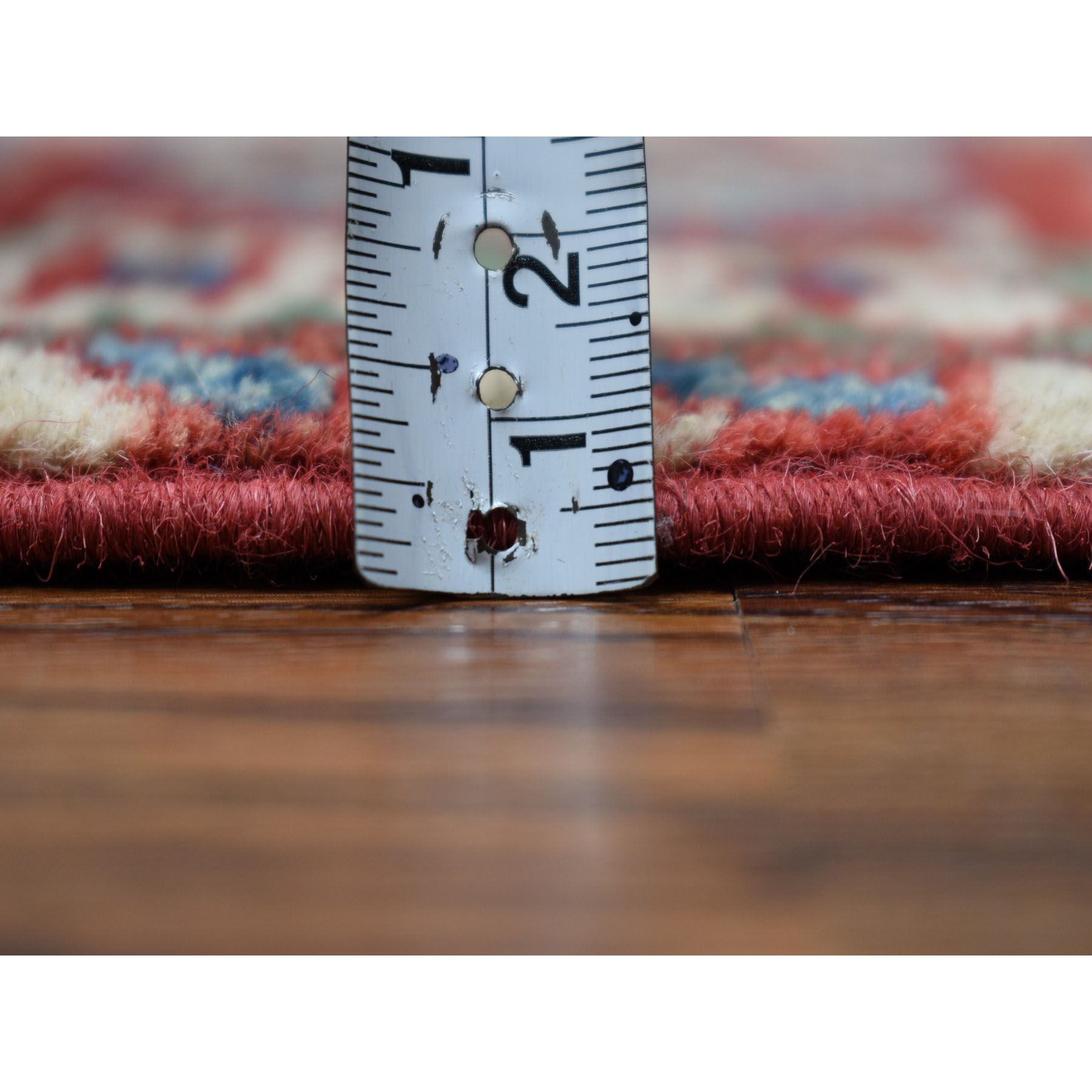 3-4 x5-6  Ivory Geometric Design Kazak Pure Wool Hand-Knotted Oriental Rug