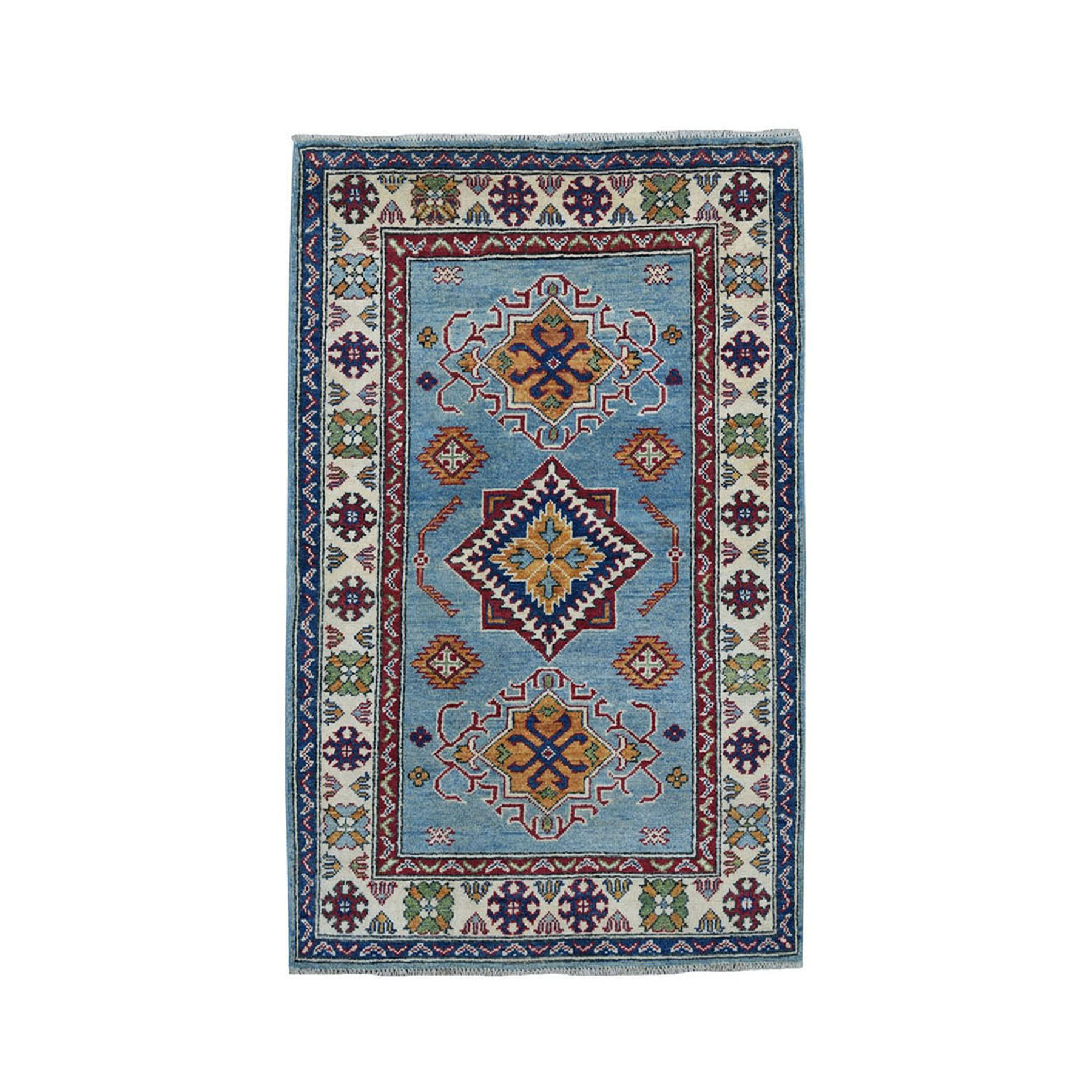 "3'X4'8"" Blue Geometric Design Kazak Pure Wool Hand-Knotted Oriental Rug moae0707"