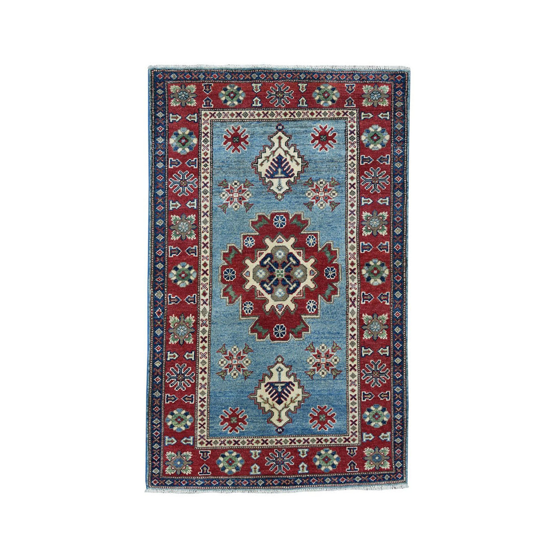 "3'2""X5' Blue Geometric Design Kazak Pure Wool Hand-Knotted Oriental Rug moae0708"