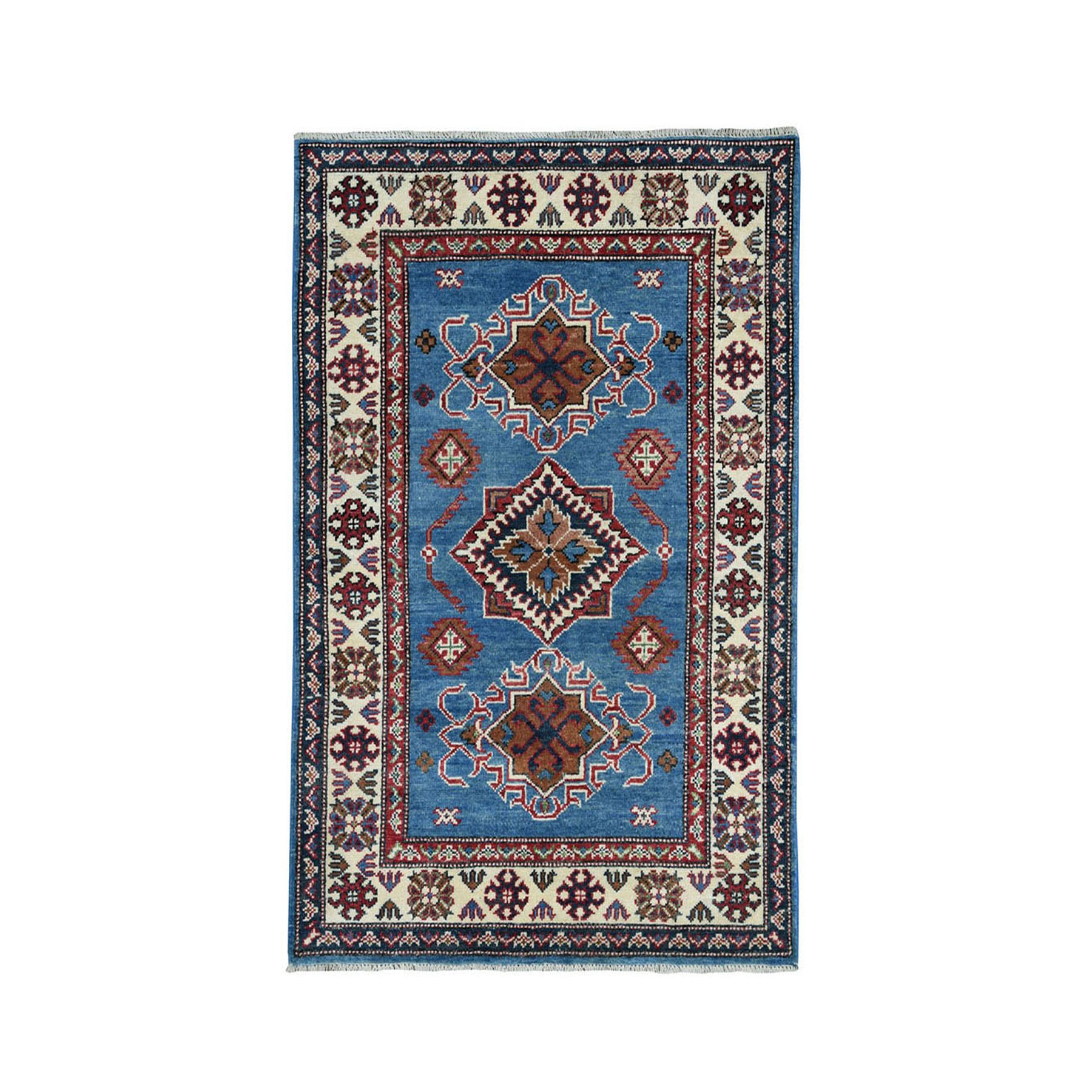 "3'2""X4'9"" Blue Geometric Design Kazak Pure Wool Hand-Knotted Oriental Rug moae0709"