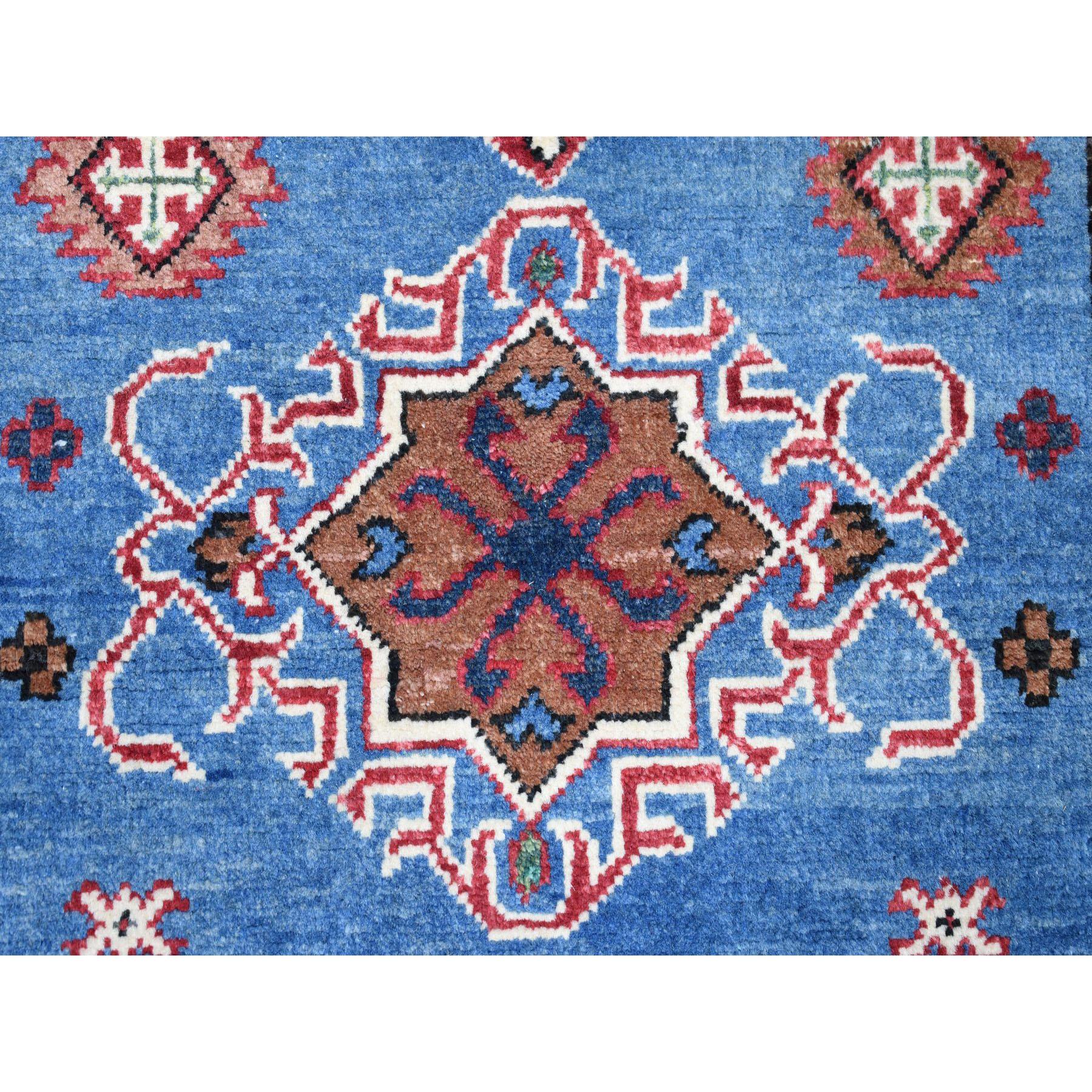 3-2 x4-9  Blue Geometric Design Kazak Pure Wool Hand-Knotted Oriental Rug