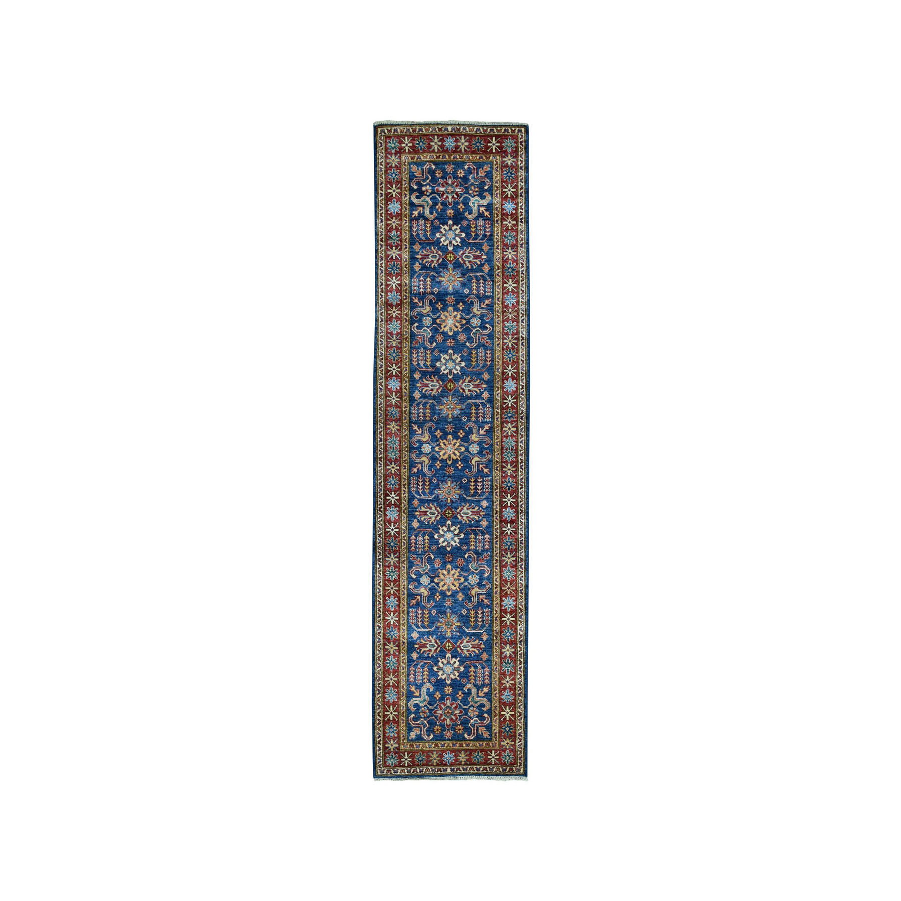 "2'6""X8'6"" Blue Super Kazak Geometric Design Pure Wool Hand-Knotted Runner Oriental Rug moae07ac"