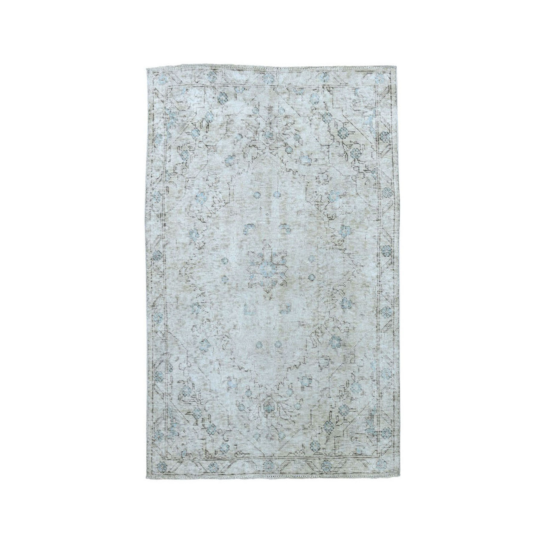 "3'X4'5"" Vintage White Wash Tabriz Worn Wool Hand-Knotted Oriental Rug moae07a6"