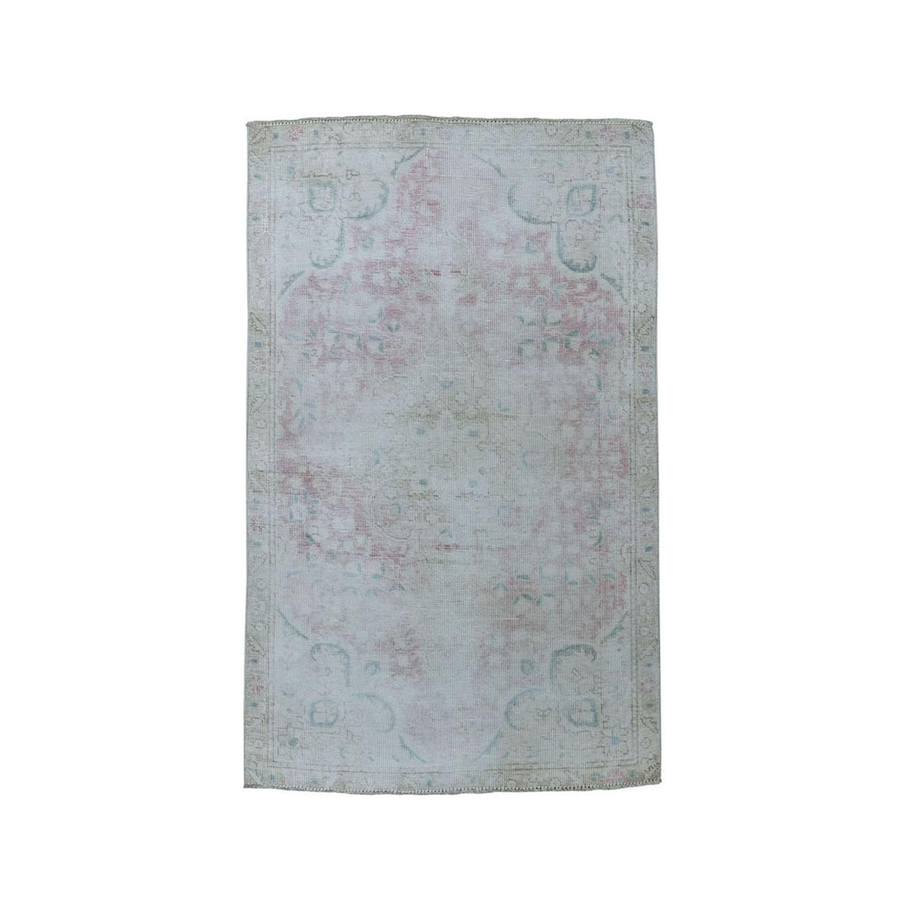 "3'X4'5"" Vintage White Wash Tabriz Worn Wool Hand-Knotted Oriental Rug moae07a7"