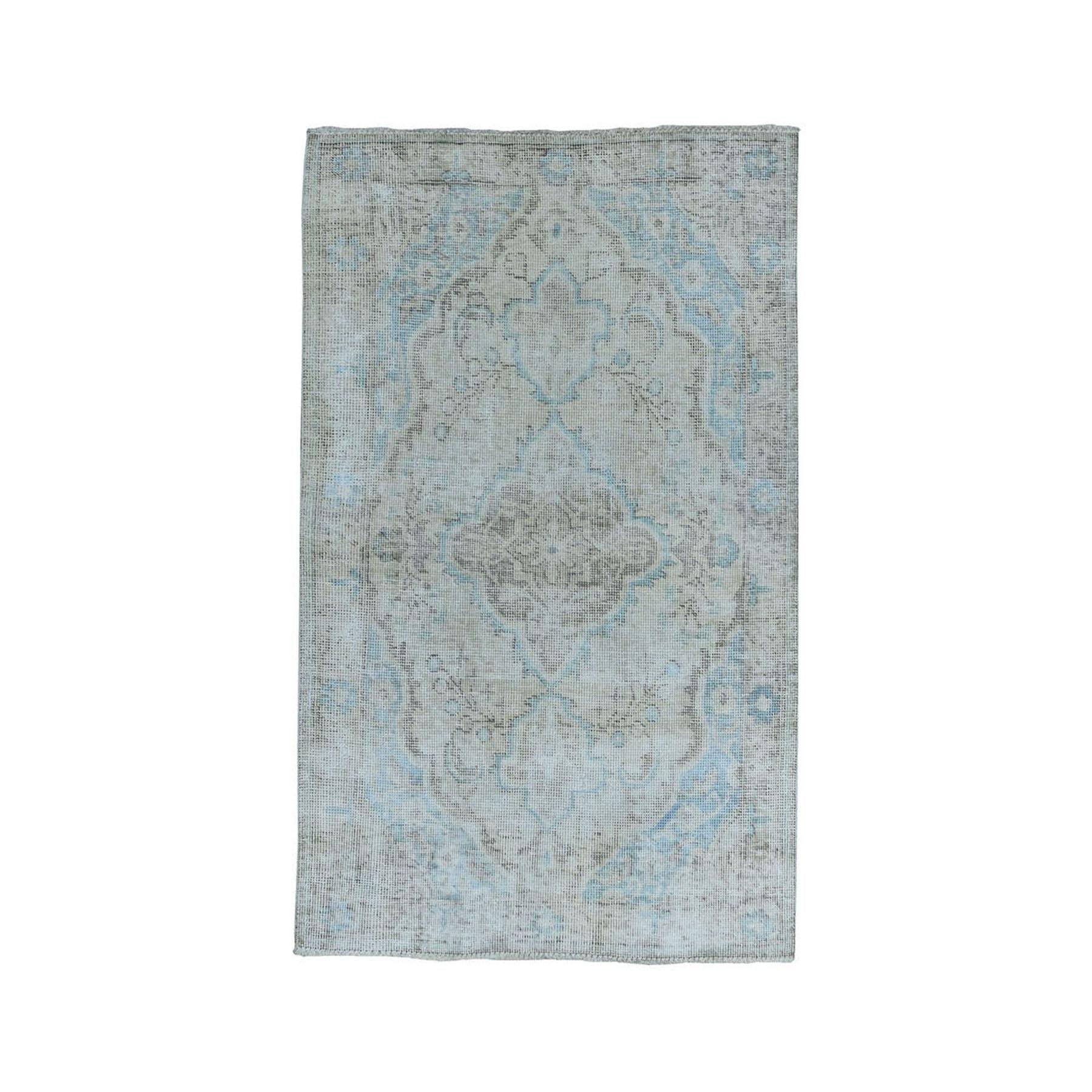"3'X4'10"" Vintage White Wash Tabriz Worn Wool Hand-Knotted Oriental Rug moae07a8"