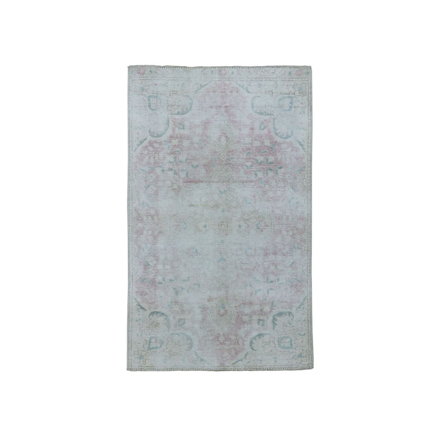 "2'7""X4'4"" Vintage White Wash Tabriz Worn Wool Hand-Knotted Oriental Rug moae07a9"