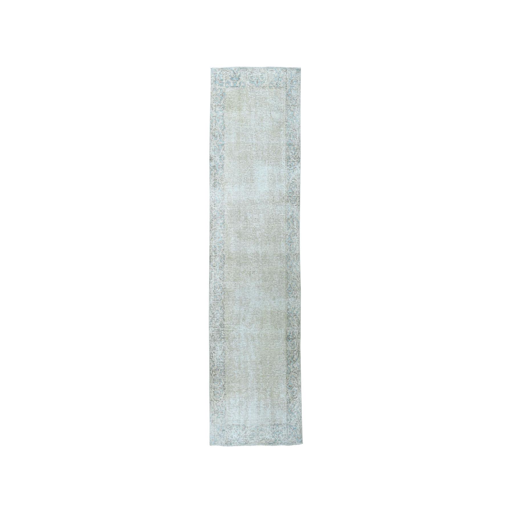 """3'X9'4"""" Vintage White Wash Tabriz Worn Wool Runner Hand-Knotted Oriental Rug moae07b0"""