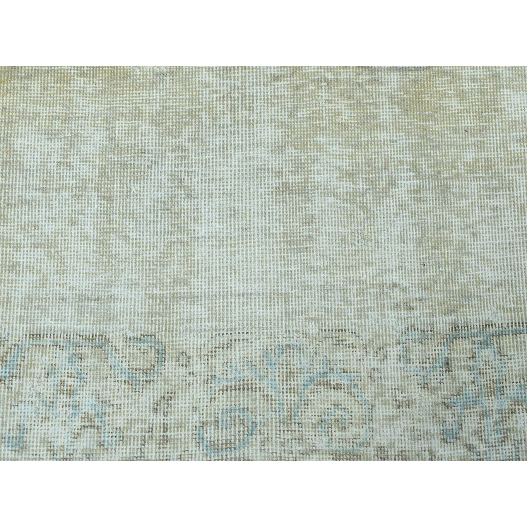 3-x9-4  Vintage White Wash Tabriz Worn Wool Runner Hand-Knotted Oriental Rug
