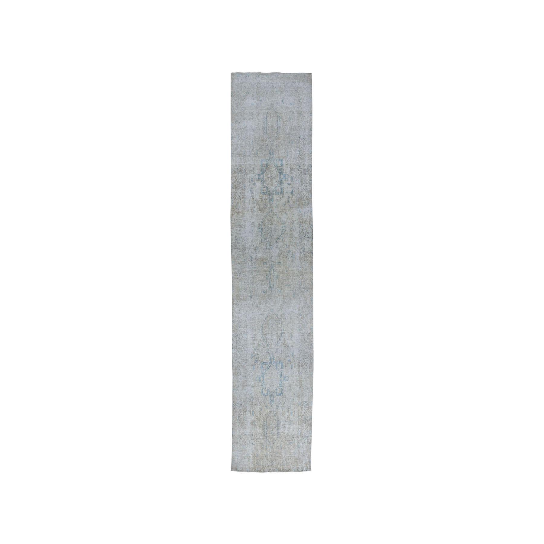 """3'5""""x13'10"""" Vintage White Wash Tabriz Worn Wool Runner Hand-Knotted Oriental Rug"""