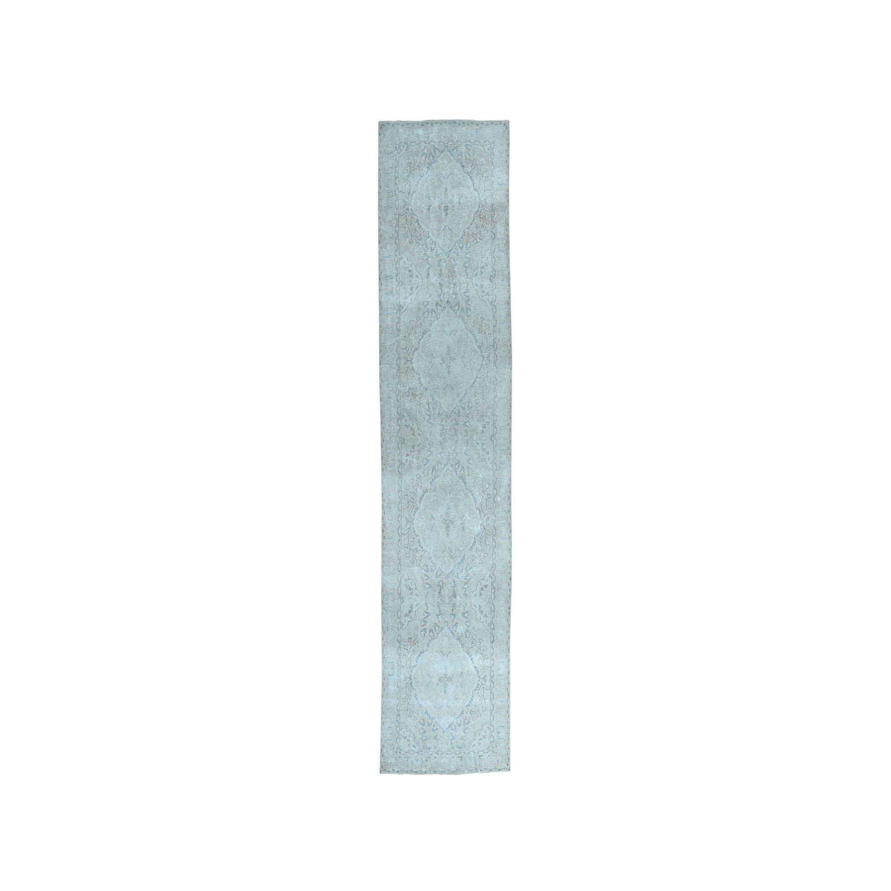 """3'3""""X13'4"""" Vintage White Wash Tabriz Worn Wool Runner Hand-Knotted Oriental Rug moae07bb"""