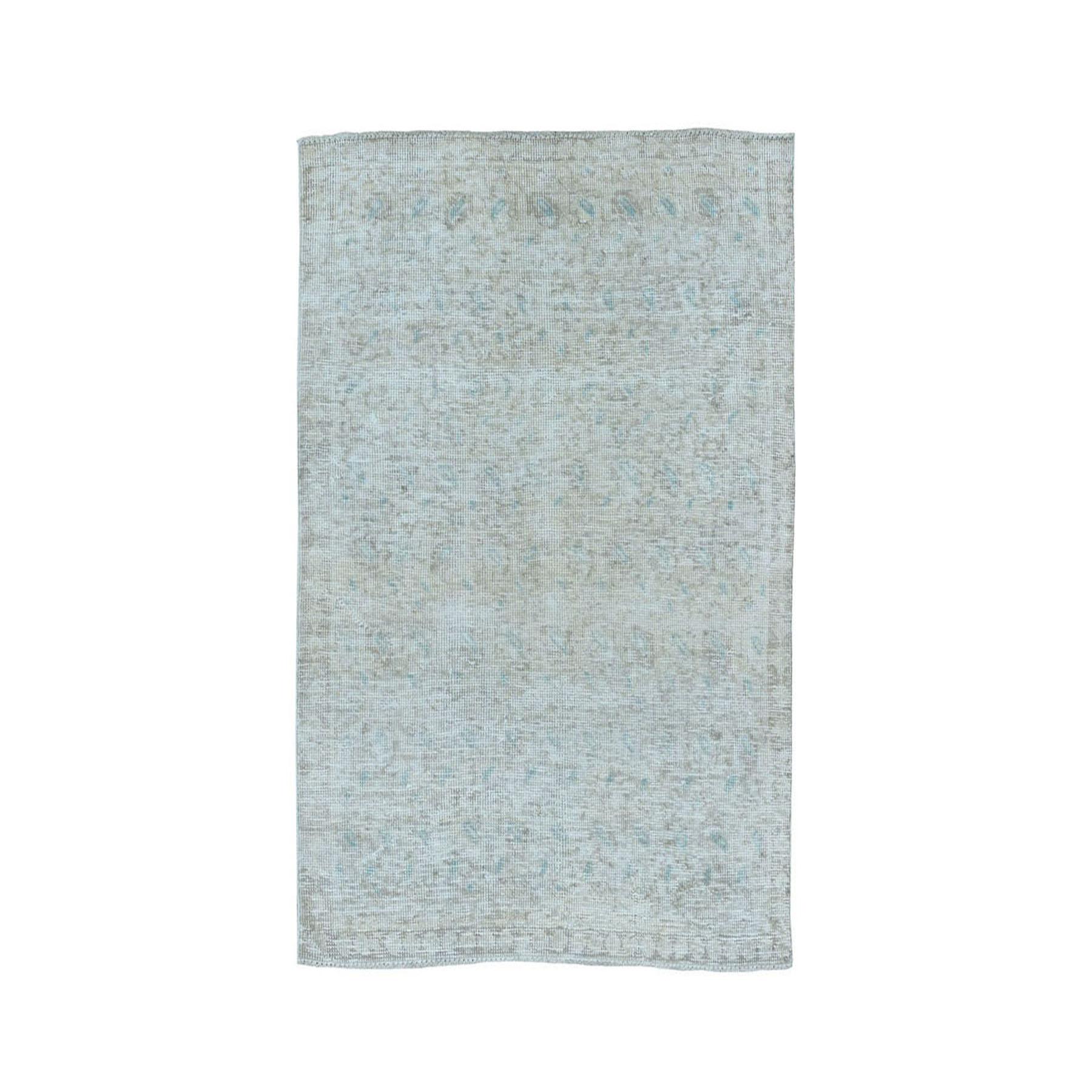 """3'1""""x4'4"""" Vintage White Wash Tabriz Worn Wool Hand-Knotted Oriental Rug 50723"""
