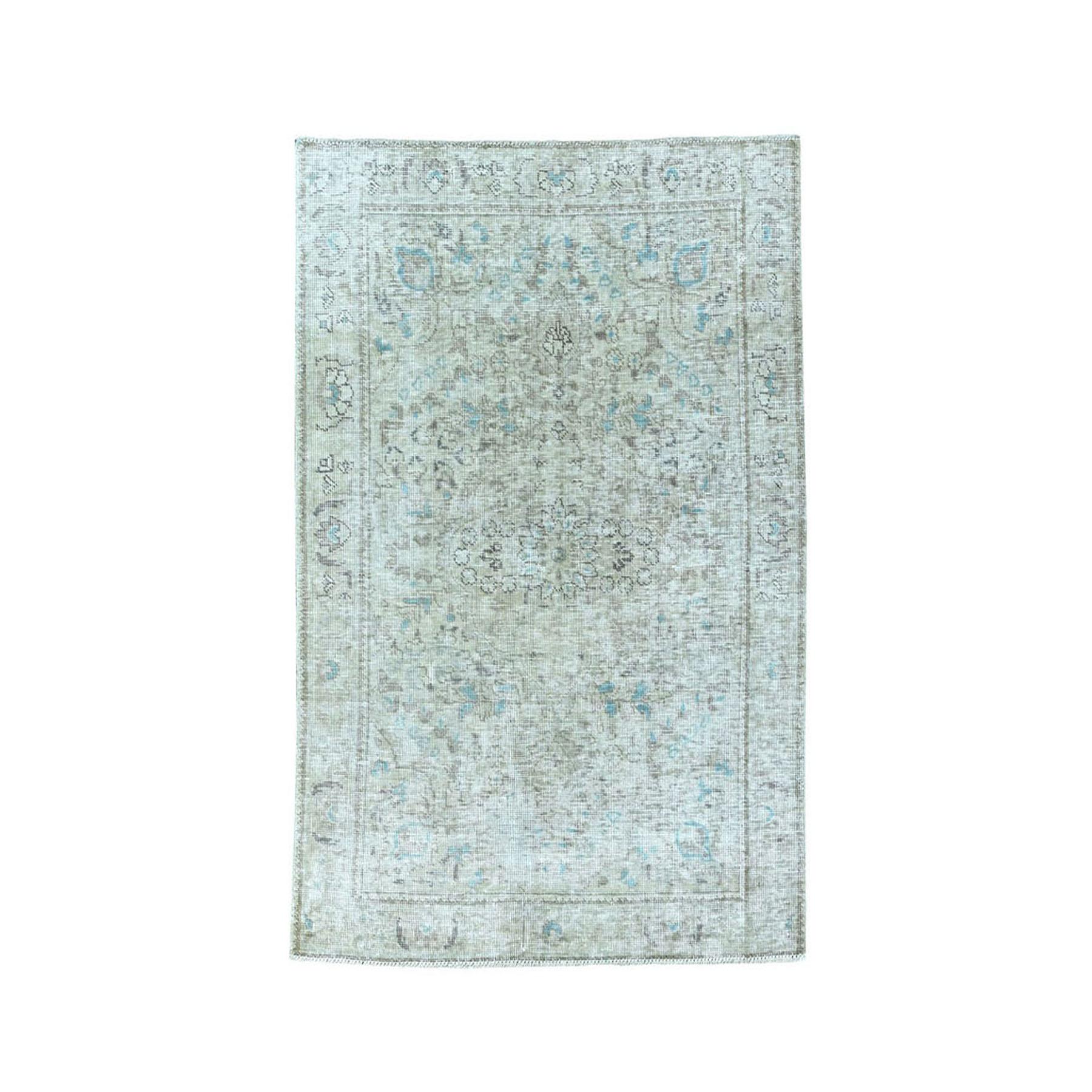 """3'1""""X4'7"""" Vintage White Wash Tabriz Worn Wool Hand-Knotted Oriental Rug moae07bd"""