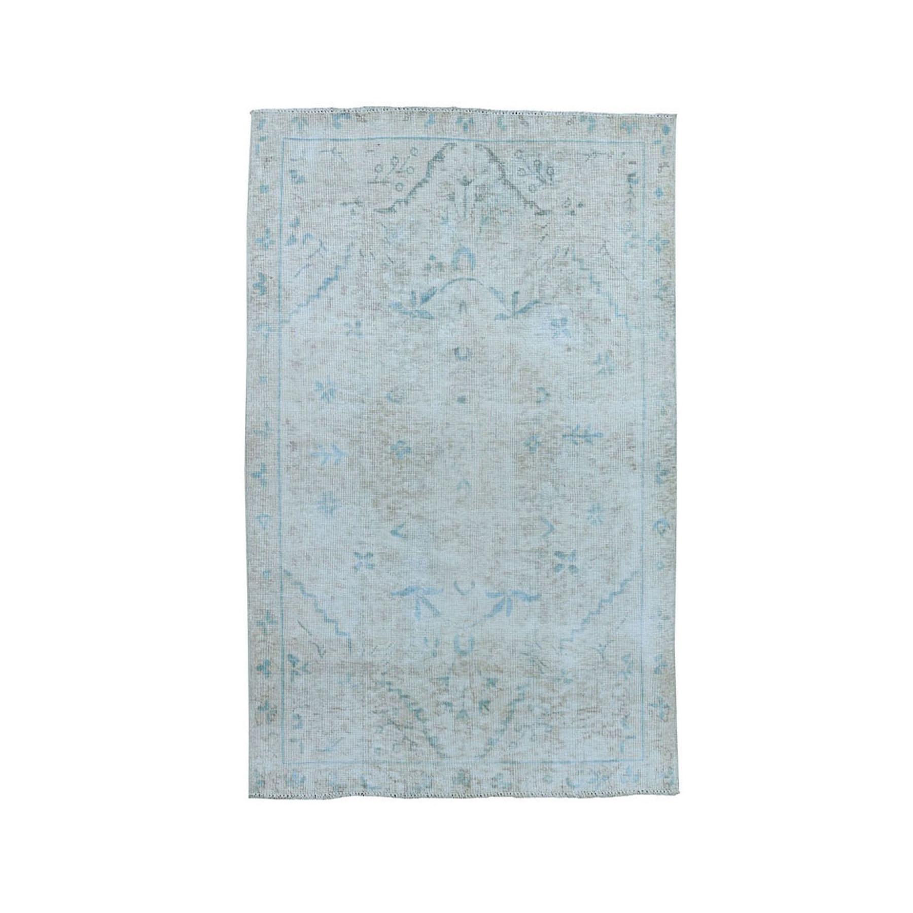 """3'3""""x4'6"""" Vintage White Wash Tabriz Worn Wool Hand-Knotted Oriental Rug 50727"""