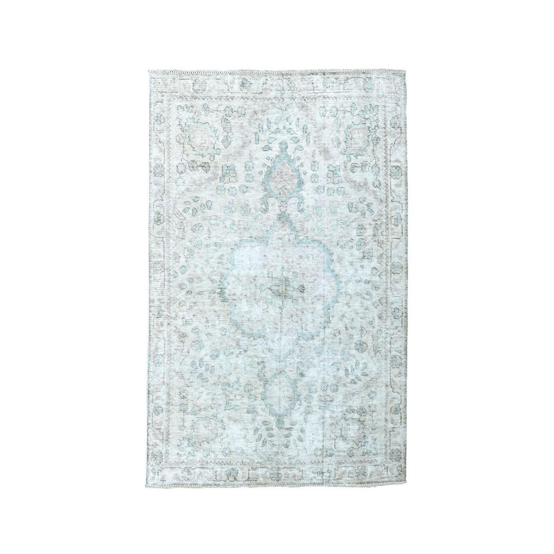 """3'X4'6"""" Vintage White Wash Tabriz Worn Wool Hand-Knotted Oriental Rug moae07b8"""
