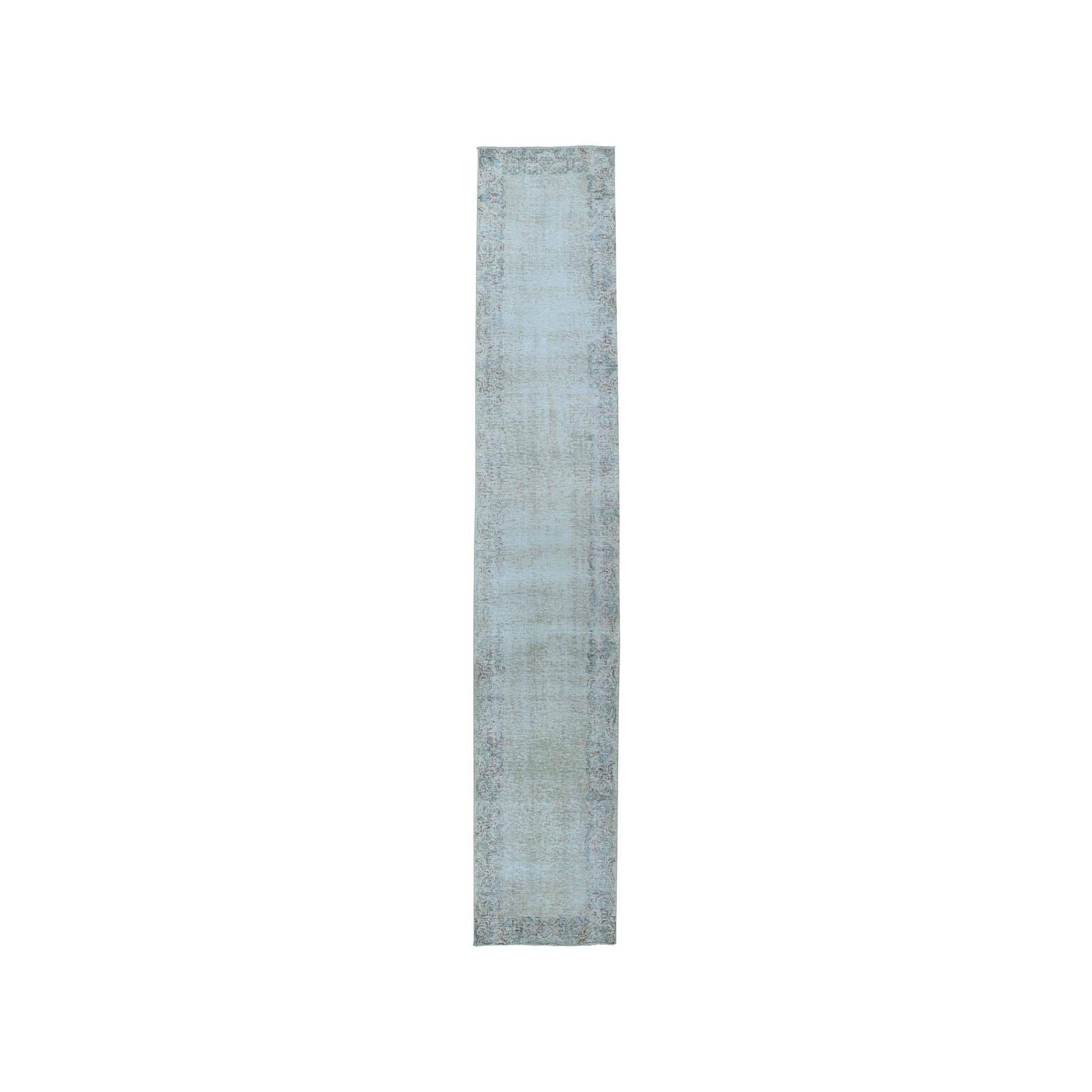 """2'7""""X12'4"""" Vintage White Wash Tabriz Worn Wool Runner Hand-Knotted Oriental Rug moae07c0"""