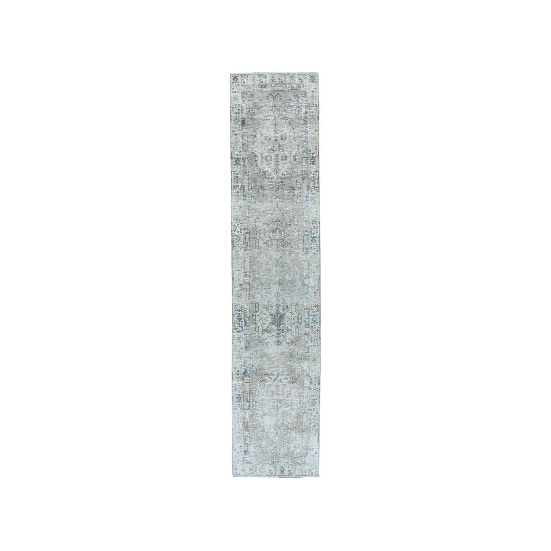 """2'10""""X10'8"""" Vintage White Wash Tabriz Worn Wool Runner Hand-Knotted Oriental Rug moae07ca"""