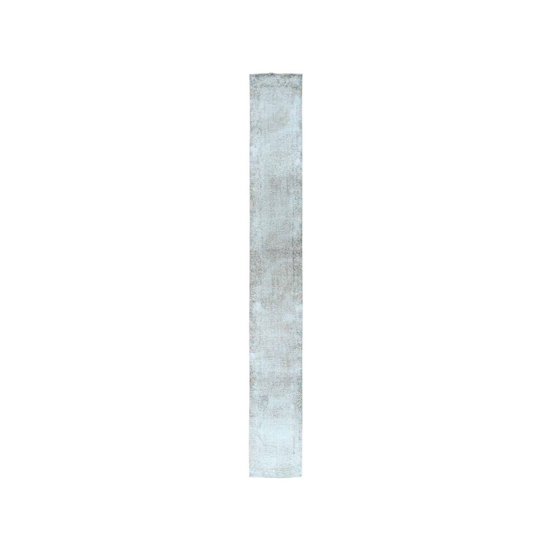 """2'1""""X12' Vintage White Wash Tabriz Worn Wool Runner Hand-Knotted Oriental Rug moae07cc"""