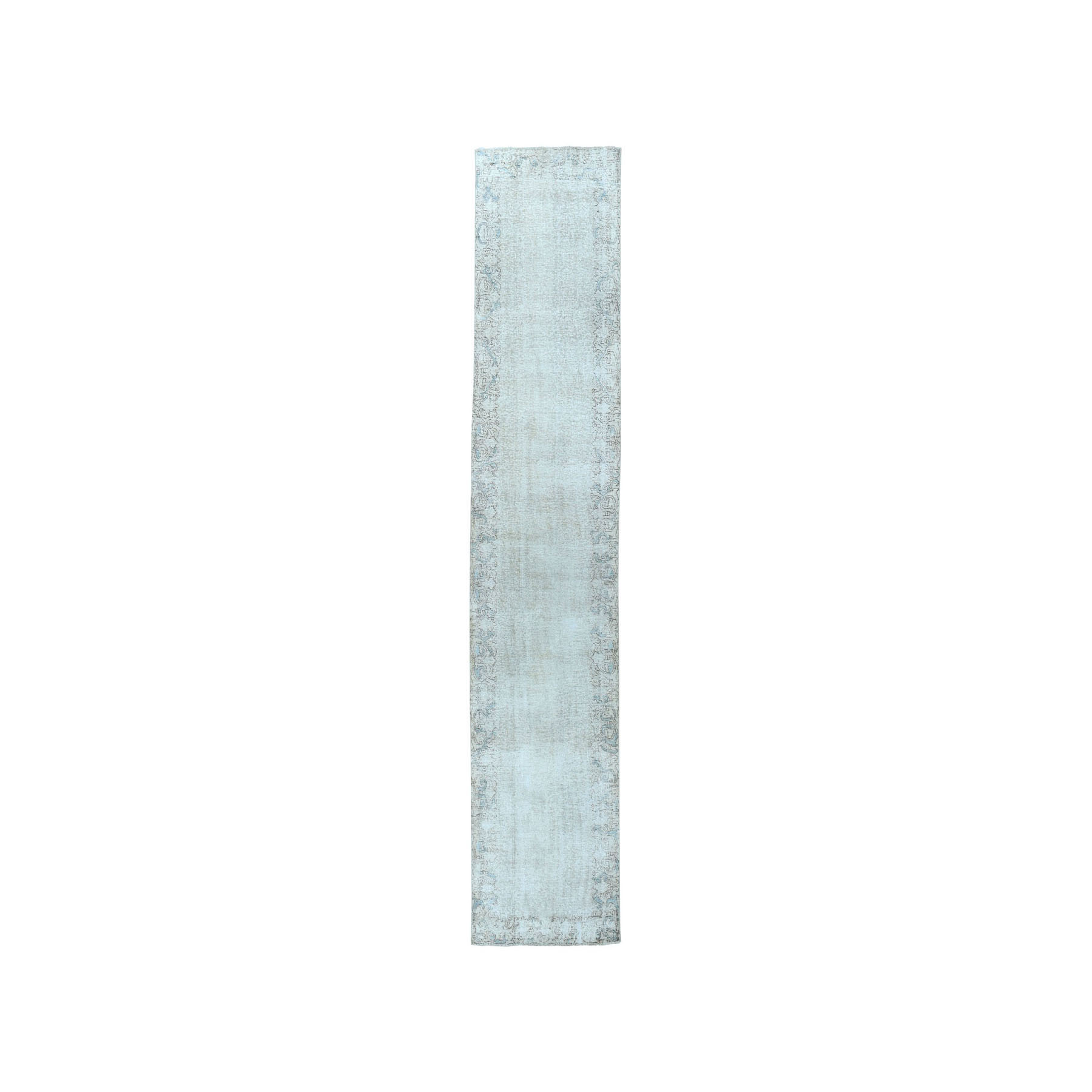 """2'7""""X11'10"""" Vintage White Wash Tabriz Worn Wool Runner Hand-Knotted Oriental Rug moae07ce"""