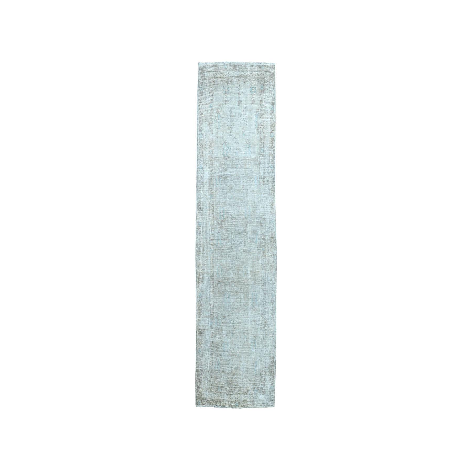 """1'8""""X5'2"""" Vintage White Wash Tabriz Worn Wool Runner Hand-Knotted Oriental Rug moae07c6"""