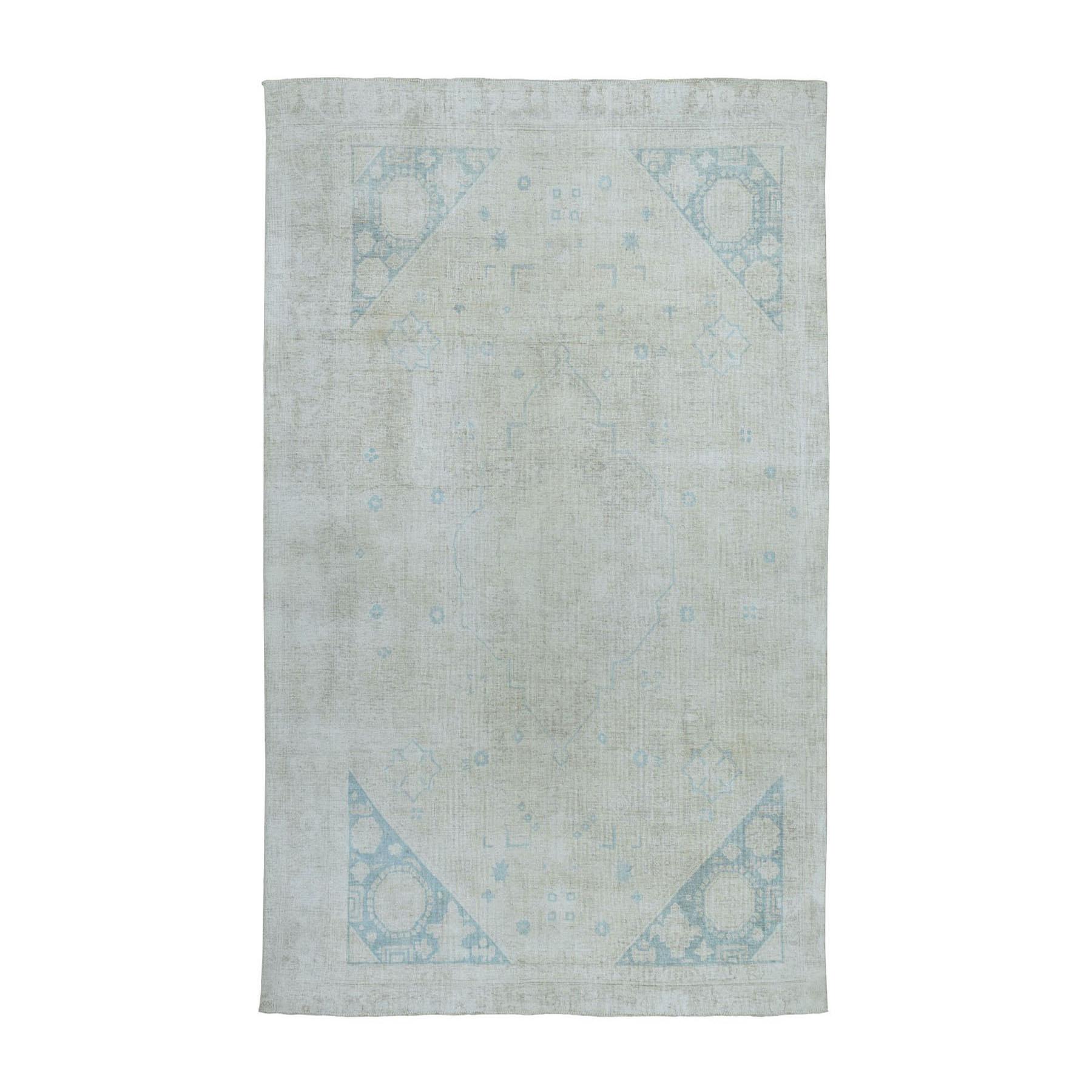 """5'9""""x9'3"""" Vintage White Wash Tabriz Worn Wool Hand-Knotted Oriental Rug"""