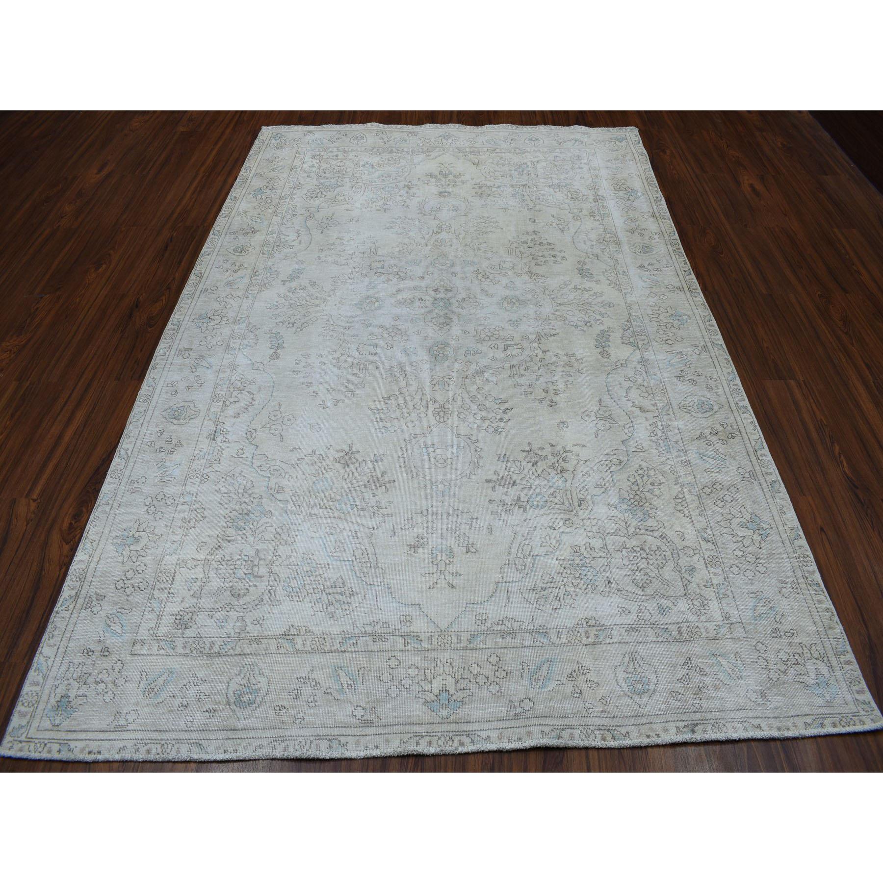 """6'3""""x9'5"""" Vintage White Wash Tabriz Worn Wool Hand-Knotted Oriental Rug"""