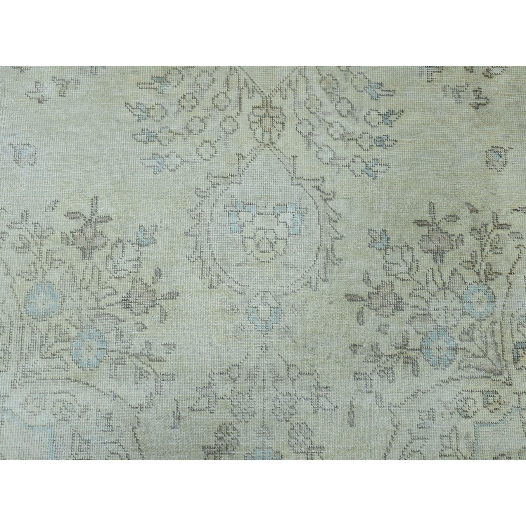 6-3 x9-5  Vintage White Wash Tabriz Worn Wool Hand-Knotted Oriental Rug