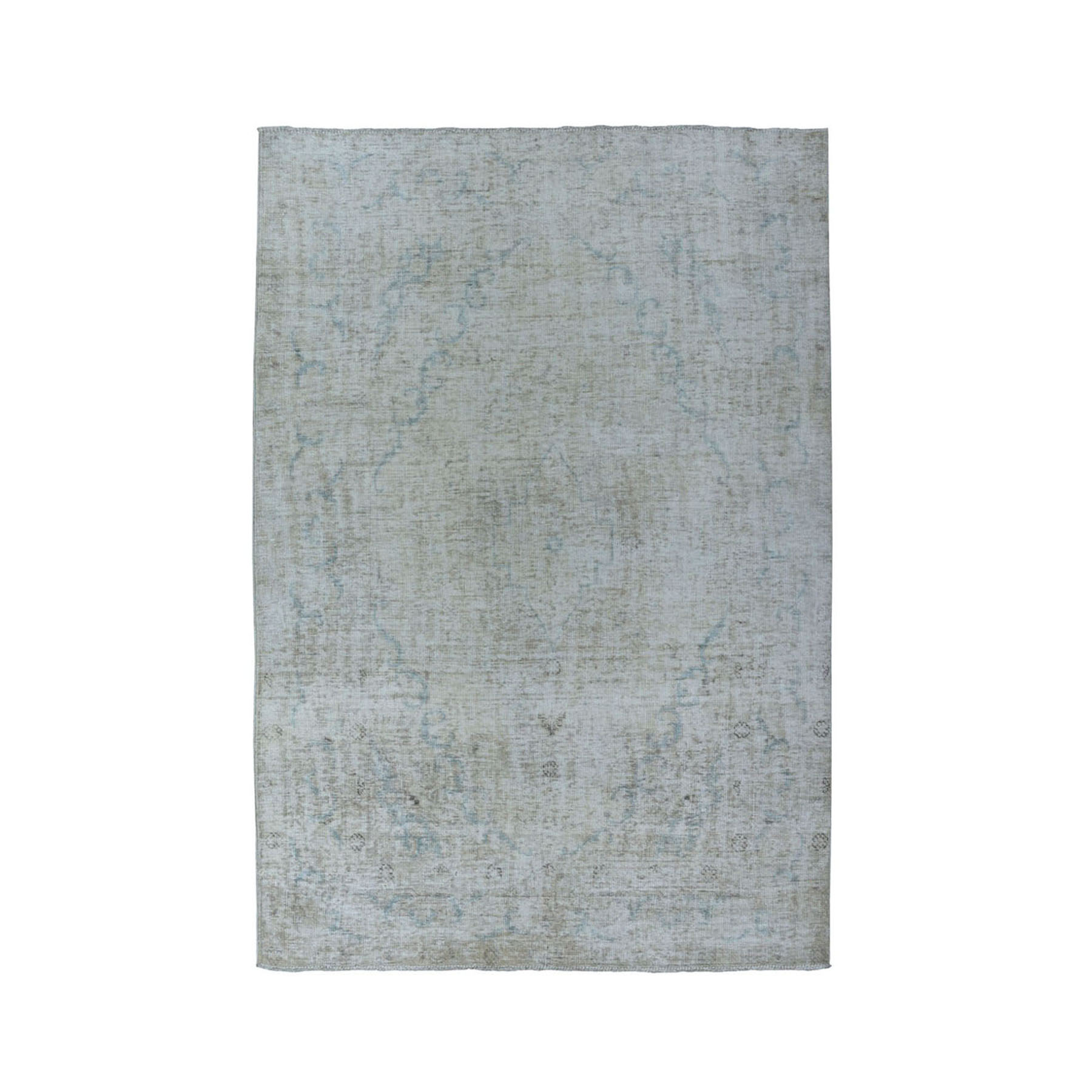 """4'7""""X6'1"""" Vintage White Wash Tabriz Worn Wool Hand-Knotted Oriental Rug moae07d0"""