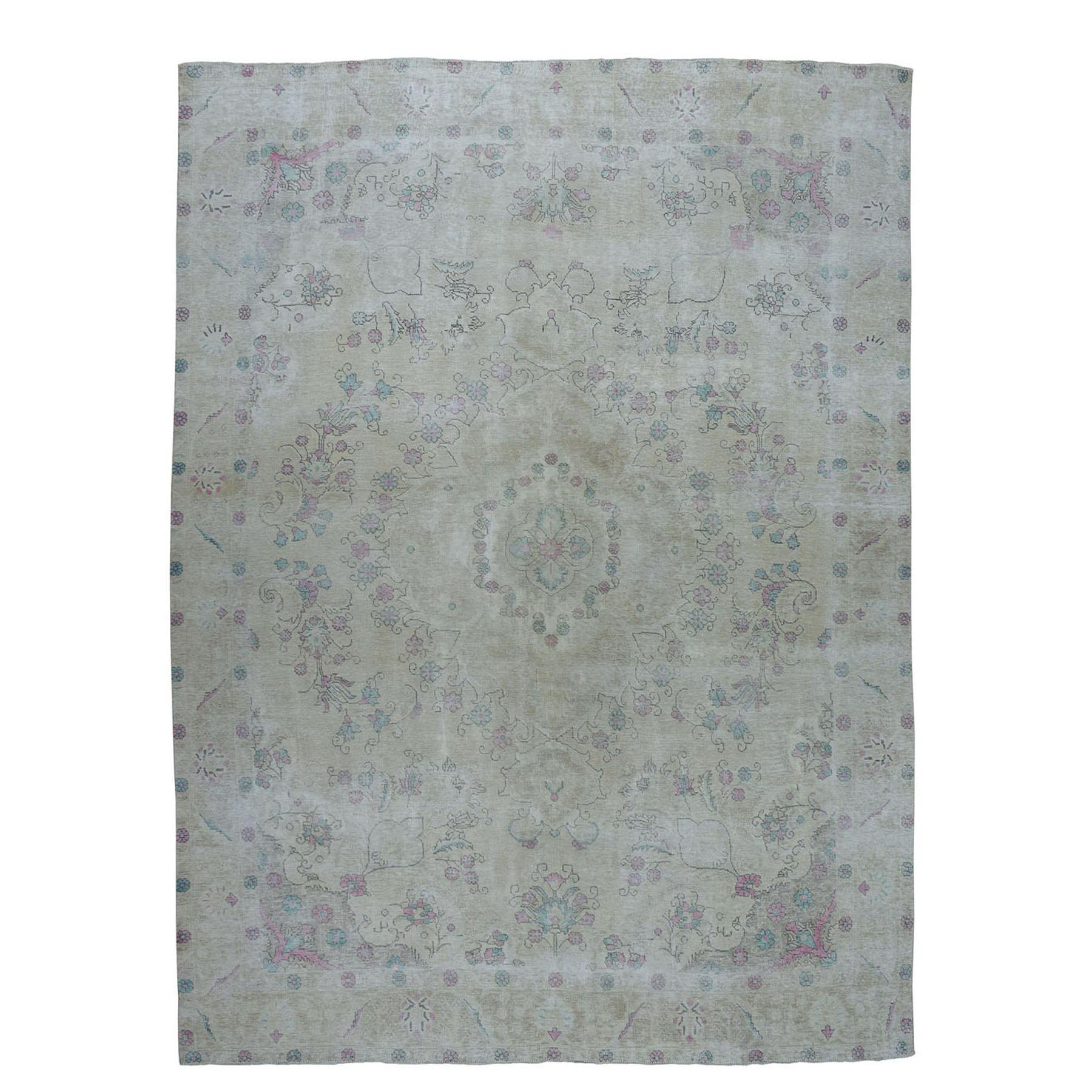 """9'3""""X11'7"""" Vintage White Wash Tabriz Worn Wool Hand-Knotted Oriental Rug moae07d6"""