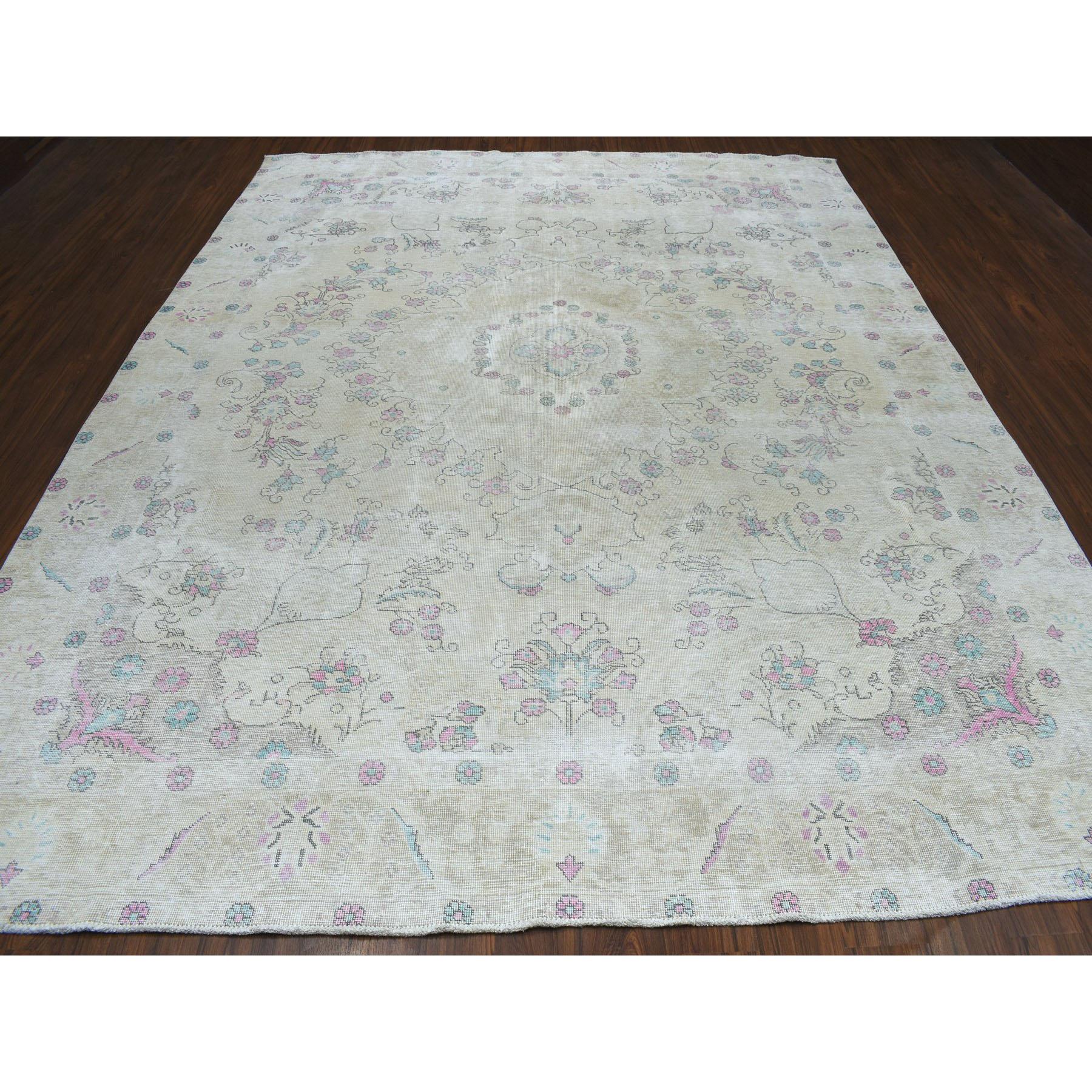 """9'3""""x11'7"""" Vintage White Wash Tabriz Worn Wool Hand-Knotted Oriental Rug"""