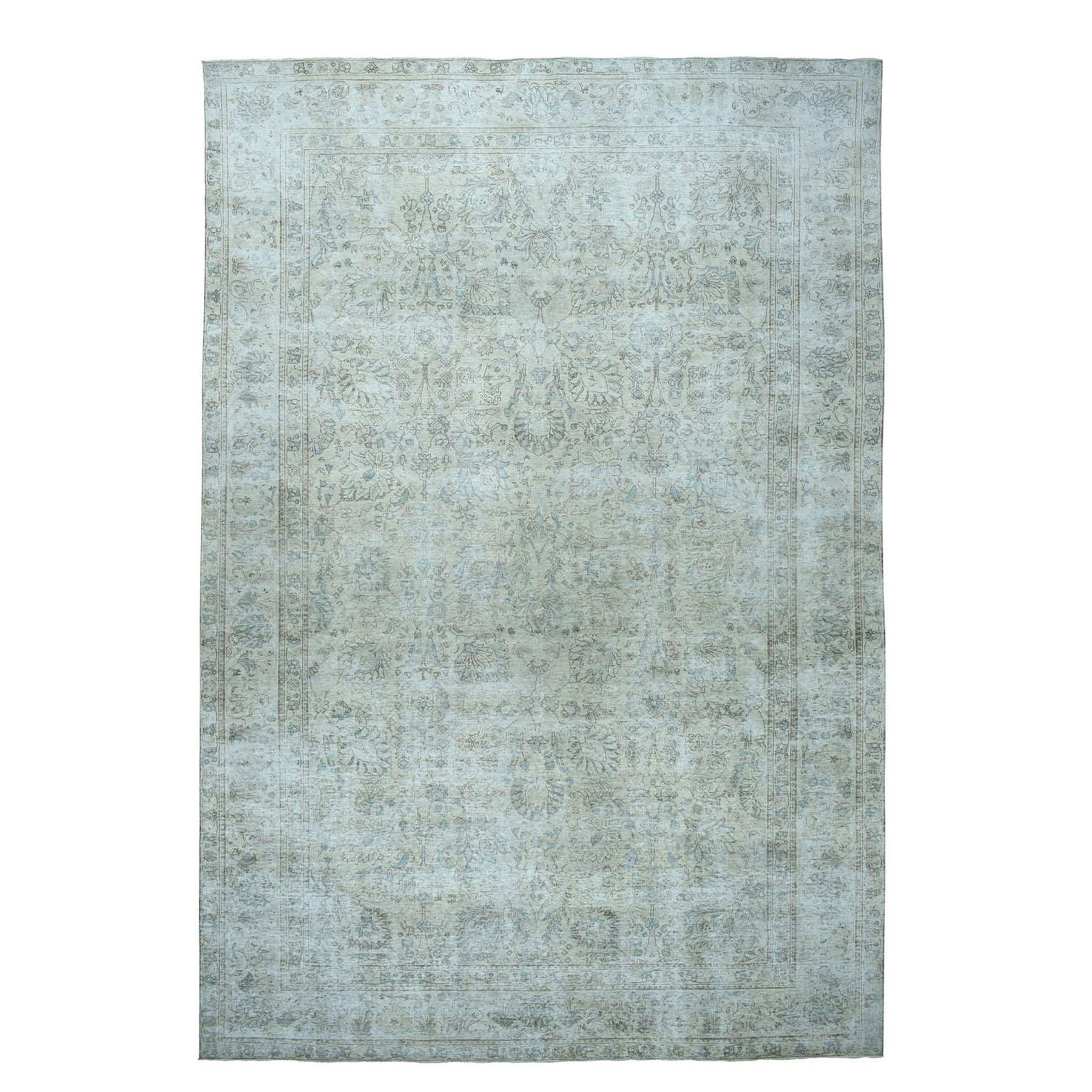 "9'3""X15'3"" Oversized Vintage White Wash Tabriz Worn Wool Hand-Knotted Oriental Rug moae07d8"
