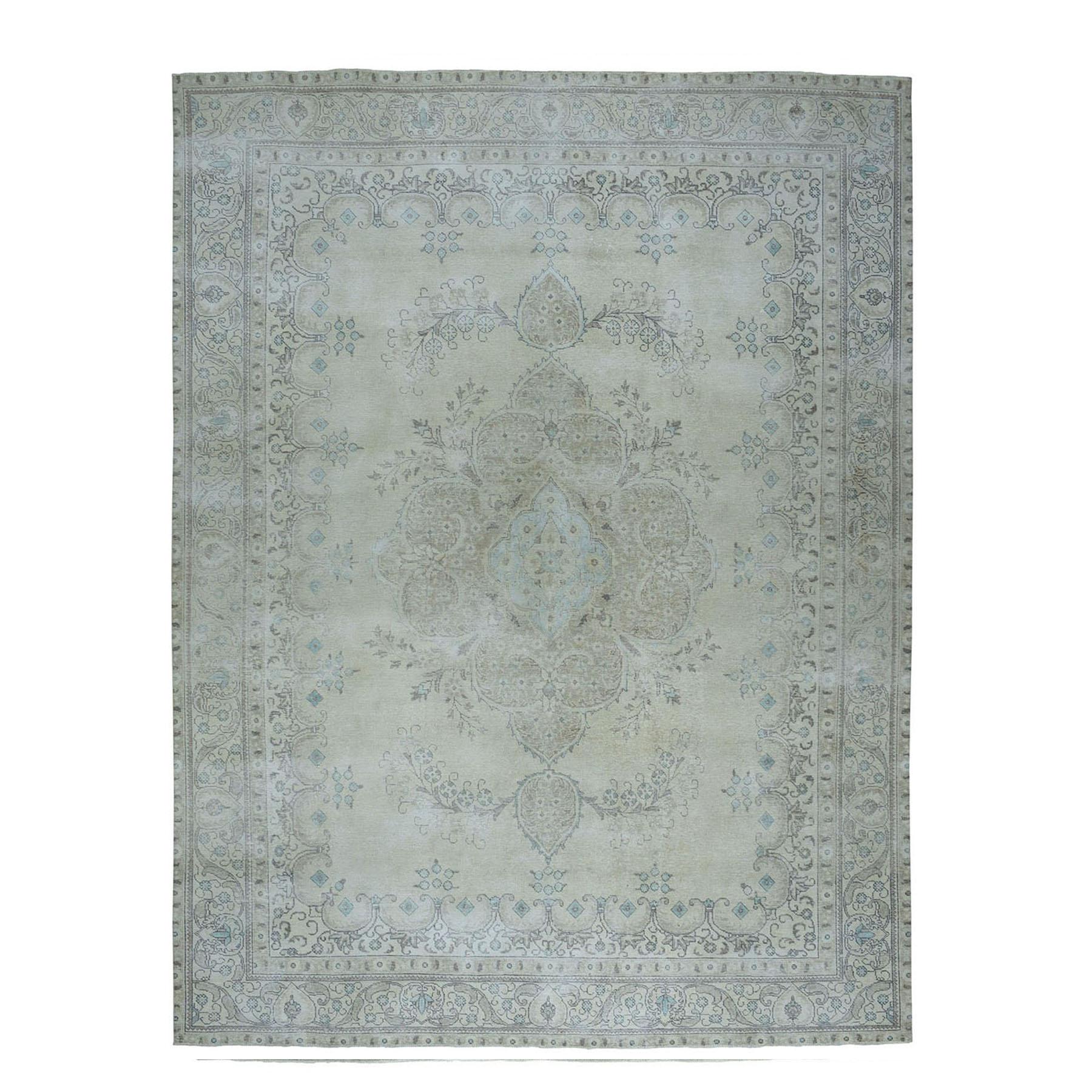 "9'4""X12'7"" Vintage White Wash Tabriz Worn Wool Hand-Knotted Oriental Rug moae07e0"