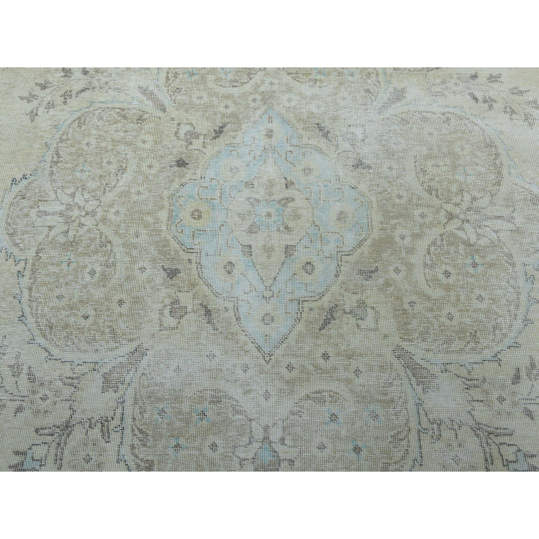 9-4 x12-7  Vintage White Wash Tabriz Worn Wool Hand-Knotted Oriental Rug