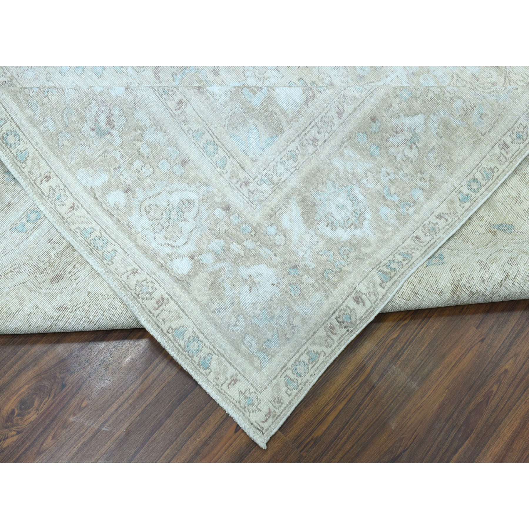 """9'7""""x13'4"""" Vintage White Wash Tabriz Worn Wool Hand-Knotted Oriental Rug"""
