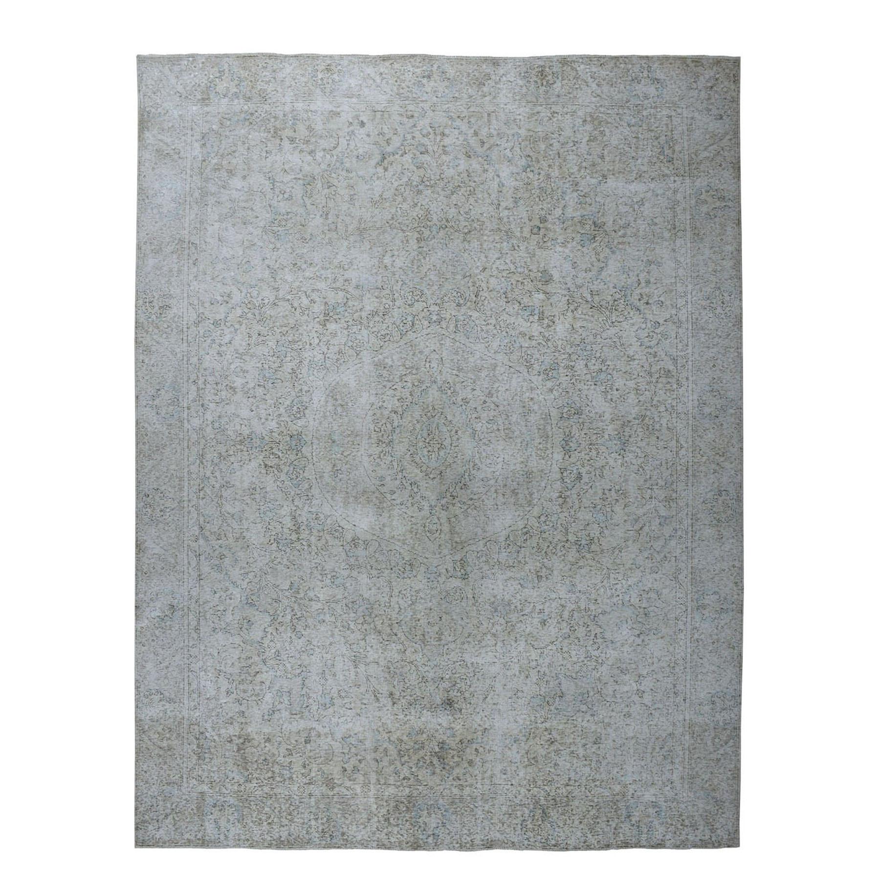 """9'5""""X12'3"""" Vintage White Wash Tabriz Worn Wool Hand-Knotted Oriental Rug moae07eb"""