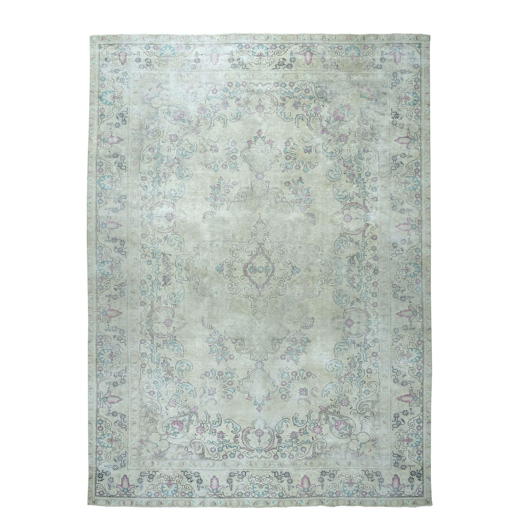 """9'4""""X12'7"""" Colorful Vintage Tabriz Worn Wool Hand-Knotted Oriental Rug moae07e6"""