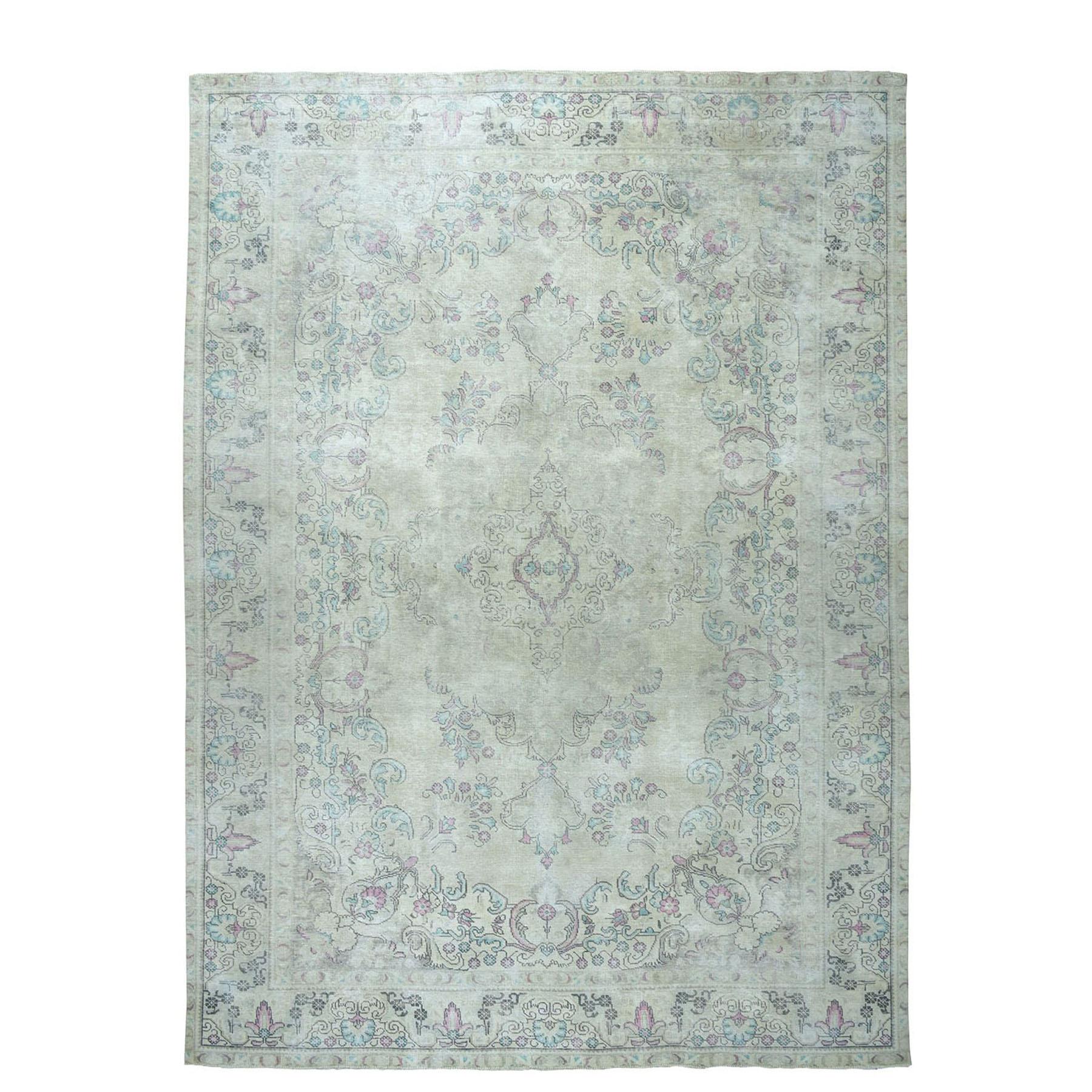 "9'4""x12'7"" Colorful Vintage Tabriz Worn Wool Hand-Knotted Oriental Rug"
