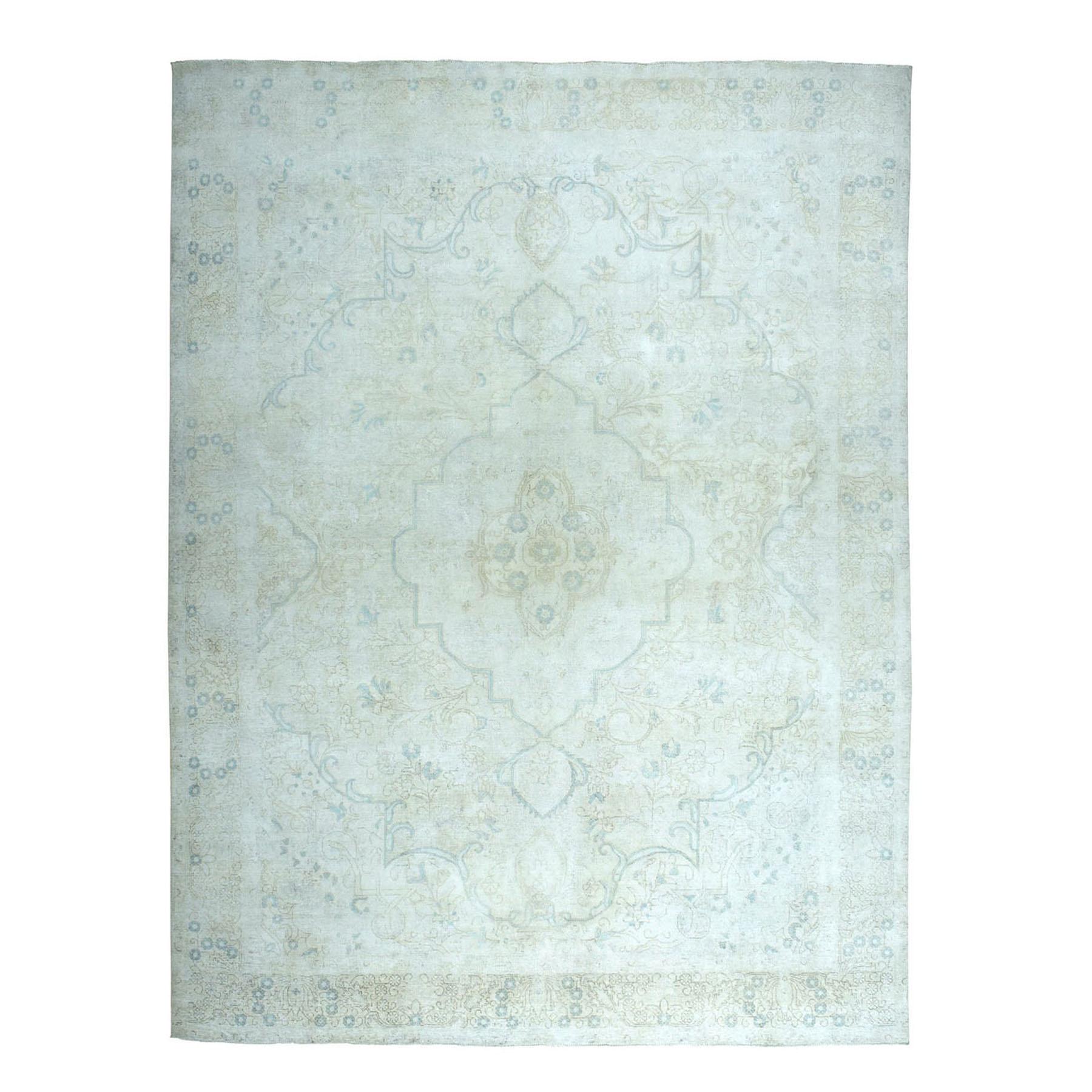 "9'6""X12'6"" Vintage White Wash Tabriz Worn Wool Hand-Knotted Oriental Rug moae07e9"
