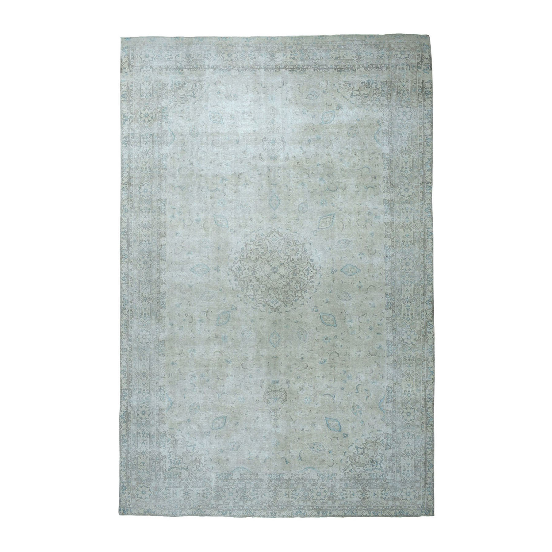 "9'6""X15'5"" Oversized Vintage White Wash Tabriz Worn Wool Hand-Knotted Oriental Rug moae076b"