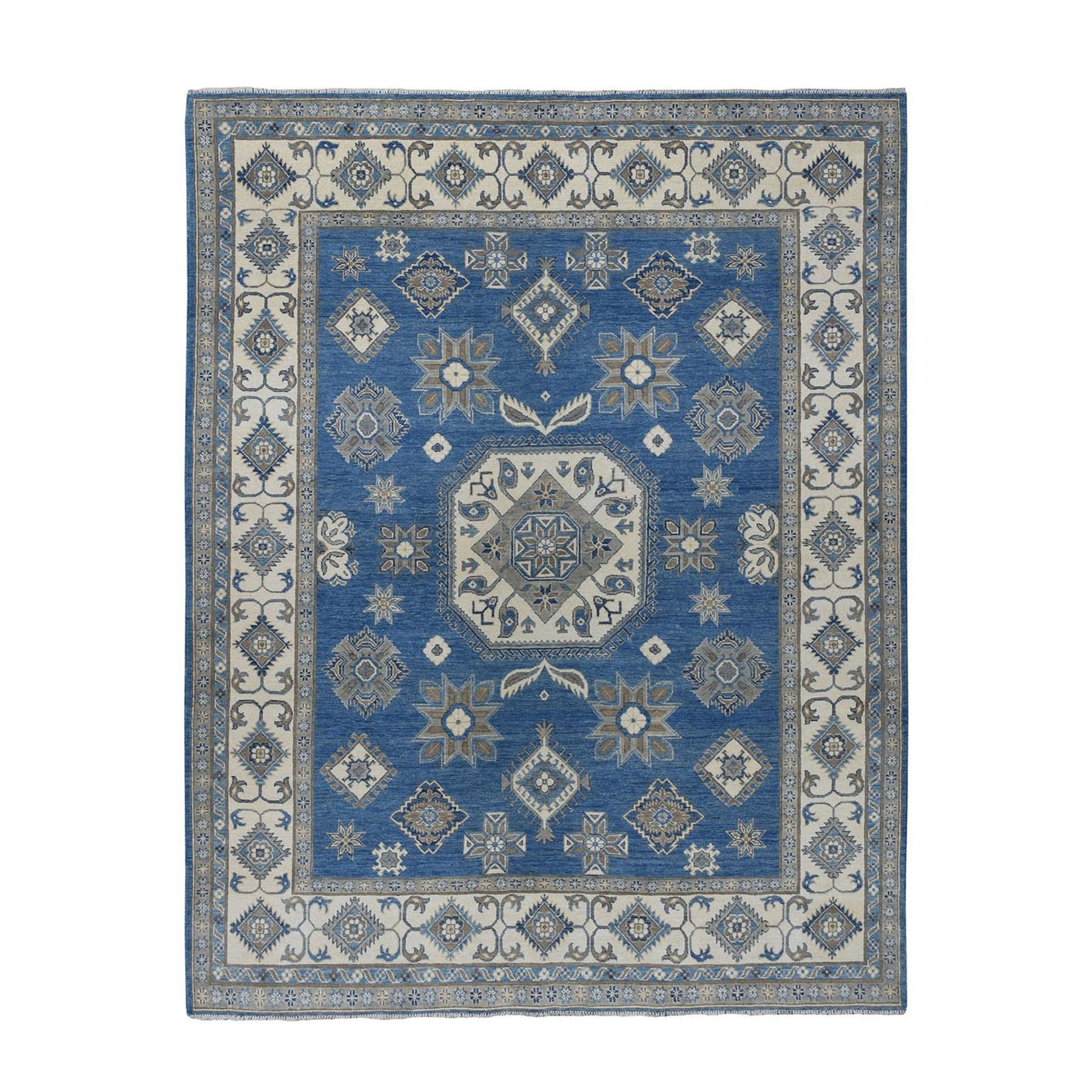"8'X9'10"" Blue Vintage Look Kazak Geometric Design Hand-Knotted Oriental Rug moae076e"