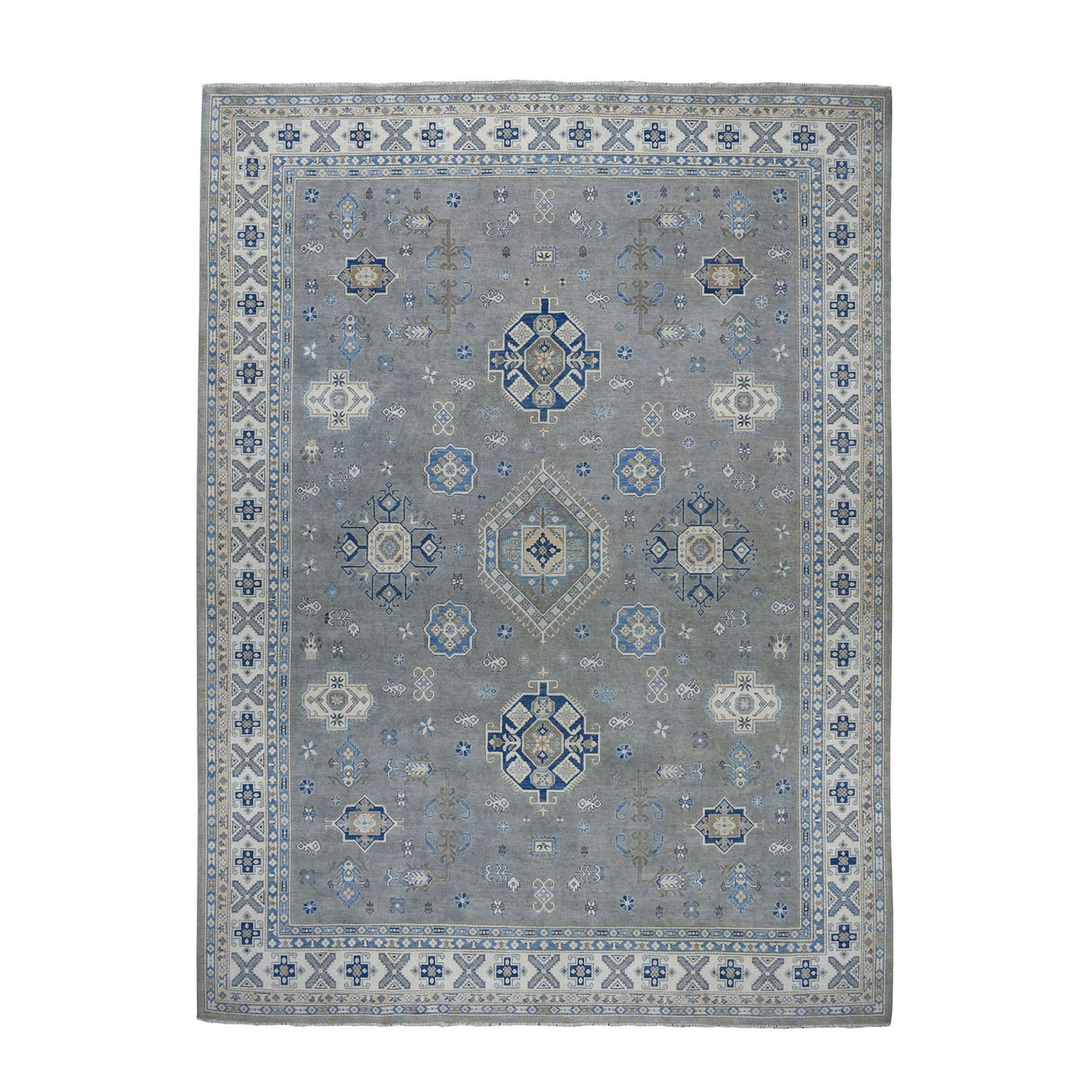 "10'4""X14'7"" Gray Vintage Look Kazak Geometric Design Hand-Knotted Oriental Rug moae0769"