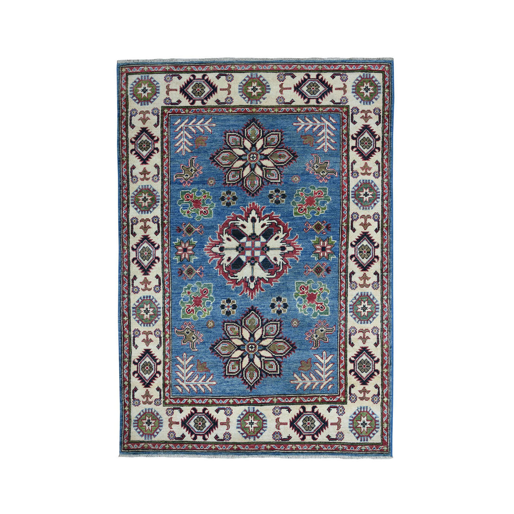"3'9""X6' Blue Geometric Design Kazak Pure Wool Hand-Knotted Oriental Rug moae077d"