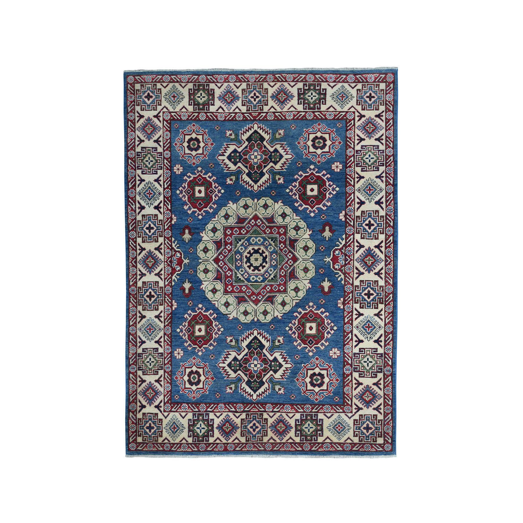 "5'X6'10"" Blue Kazak Geometric Design Pure Wool Hand-Knotted Oriental Rug moae077e"