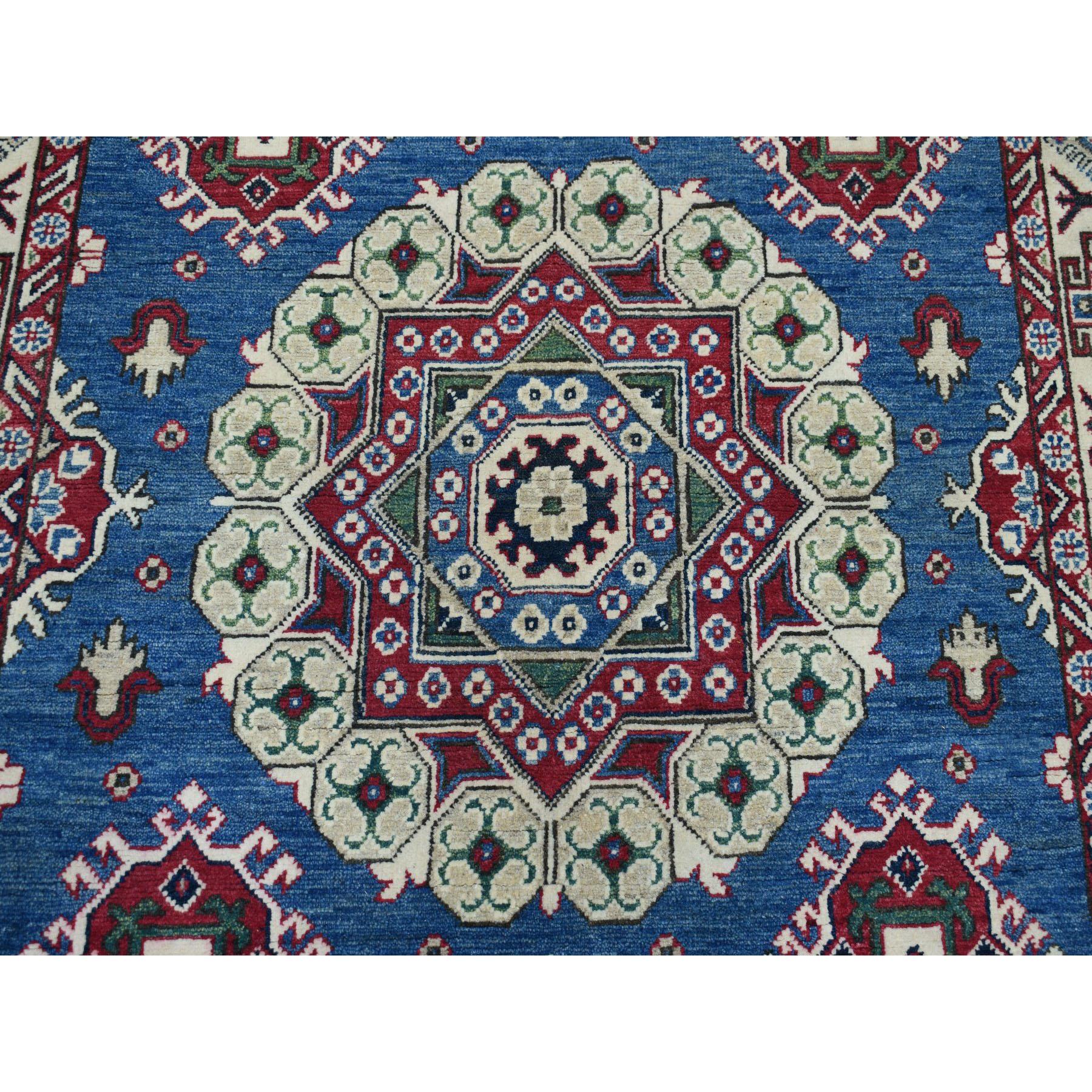 5-x6-10  Blue Kazak Geometric Design Pure Wool Hand-Knotted Oriental Rug