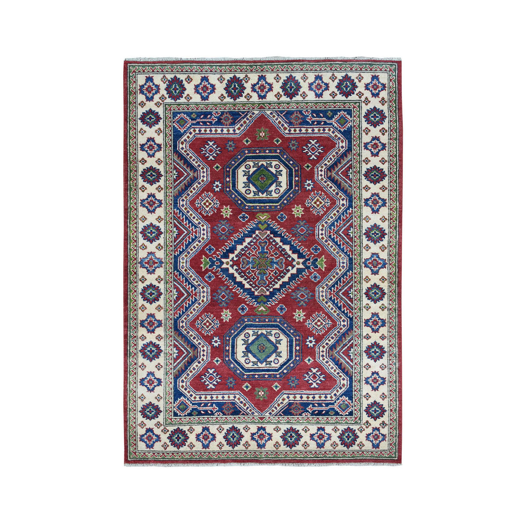"4'1""X5'9"" Red Kazak Geometric Design Pure Wool Hand-Knotted Oriental Rug moae0776"