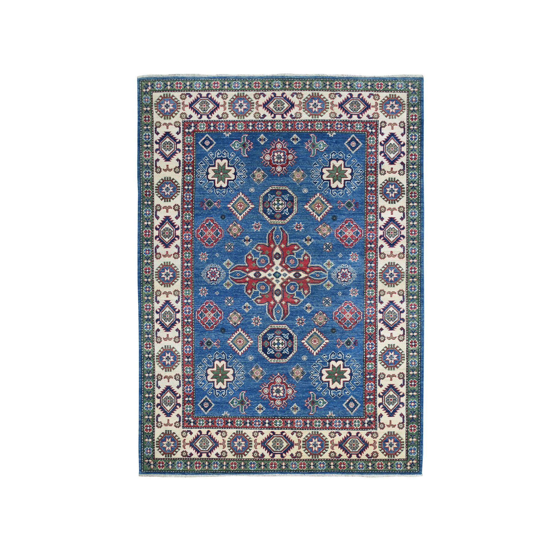 "5'X7'3"" Blue Kazak Geometric Design Pure Wool Hand-Knotted Oriental Rug moae0778"