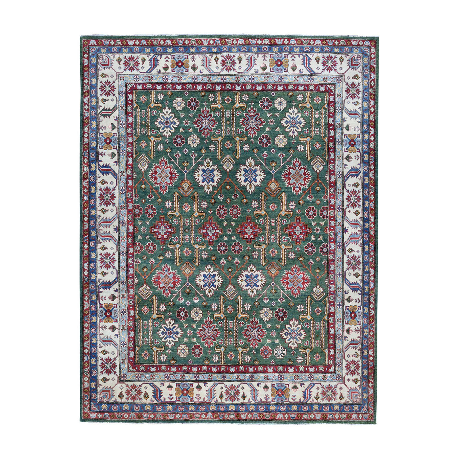 "8'1""X10' Green Kazak Geometric Design Pure Wool Hand-Knotted Oriental Rug moae0779"